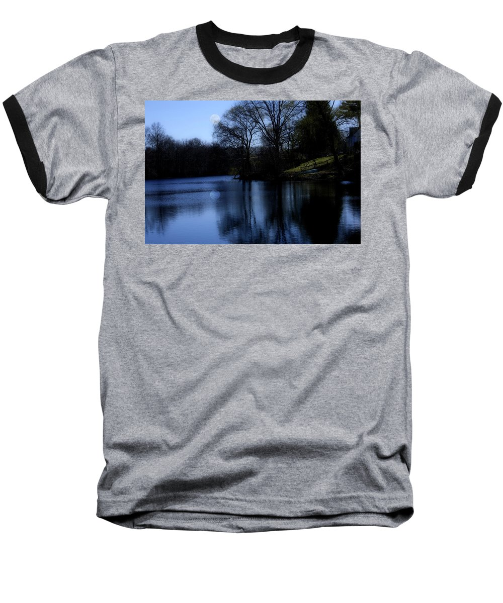 Moon Baseball T-Shirt featuring the digital art Moon Over The Charles by Edward Cardini
