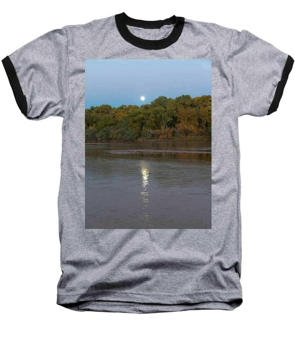 Moonlight Baseball T-Shirt featuring the photograph Moonlight On The Rio Grande by Tim McCarthy