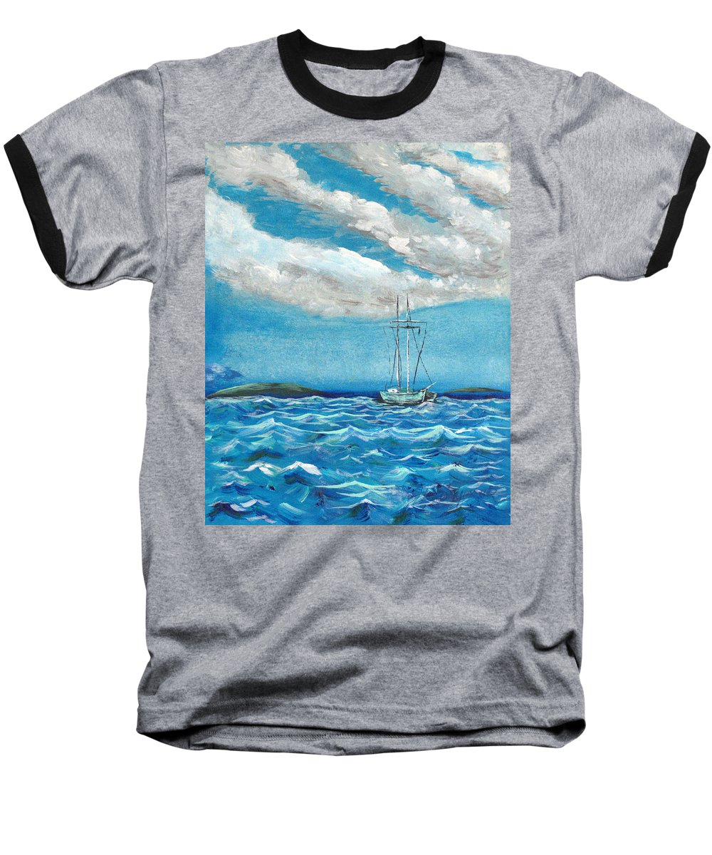 Impressionism Baseball T-Shirt featuring the painting Moored In The Bay by J R Seymour