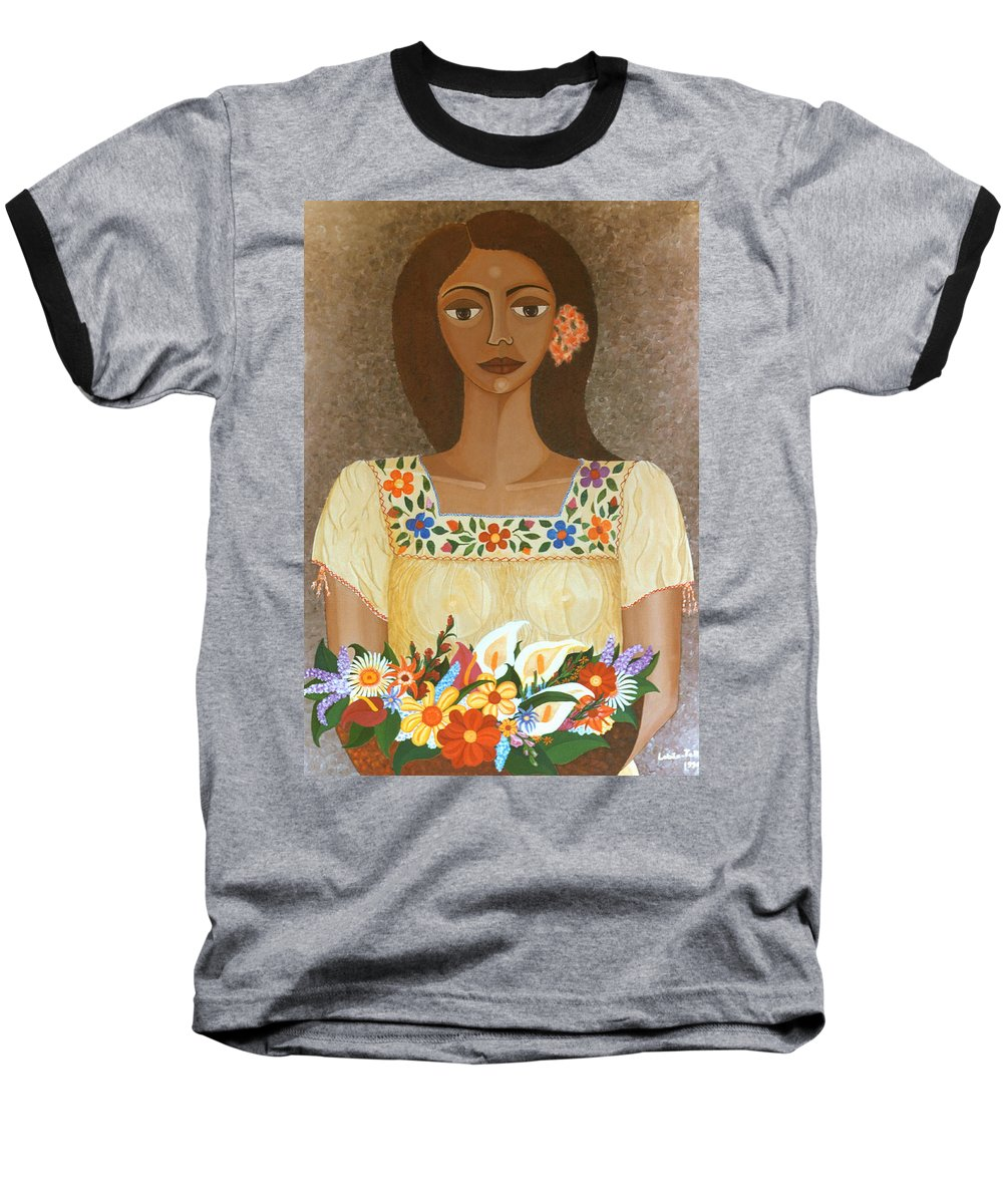 Oil Baseball T-Shirt featuring the painting More Than Flowers She Sold Illusions by Madalena Lobao-Tello