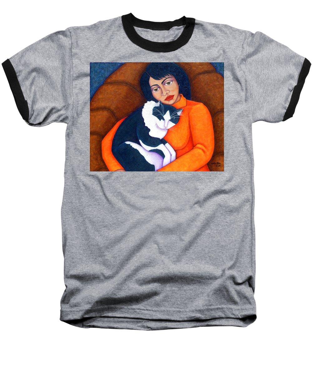 Woman Baseball T-Shirt featuring the painting Morgana With Woman by Madalena Lobao-Tello