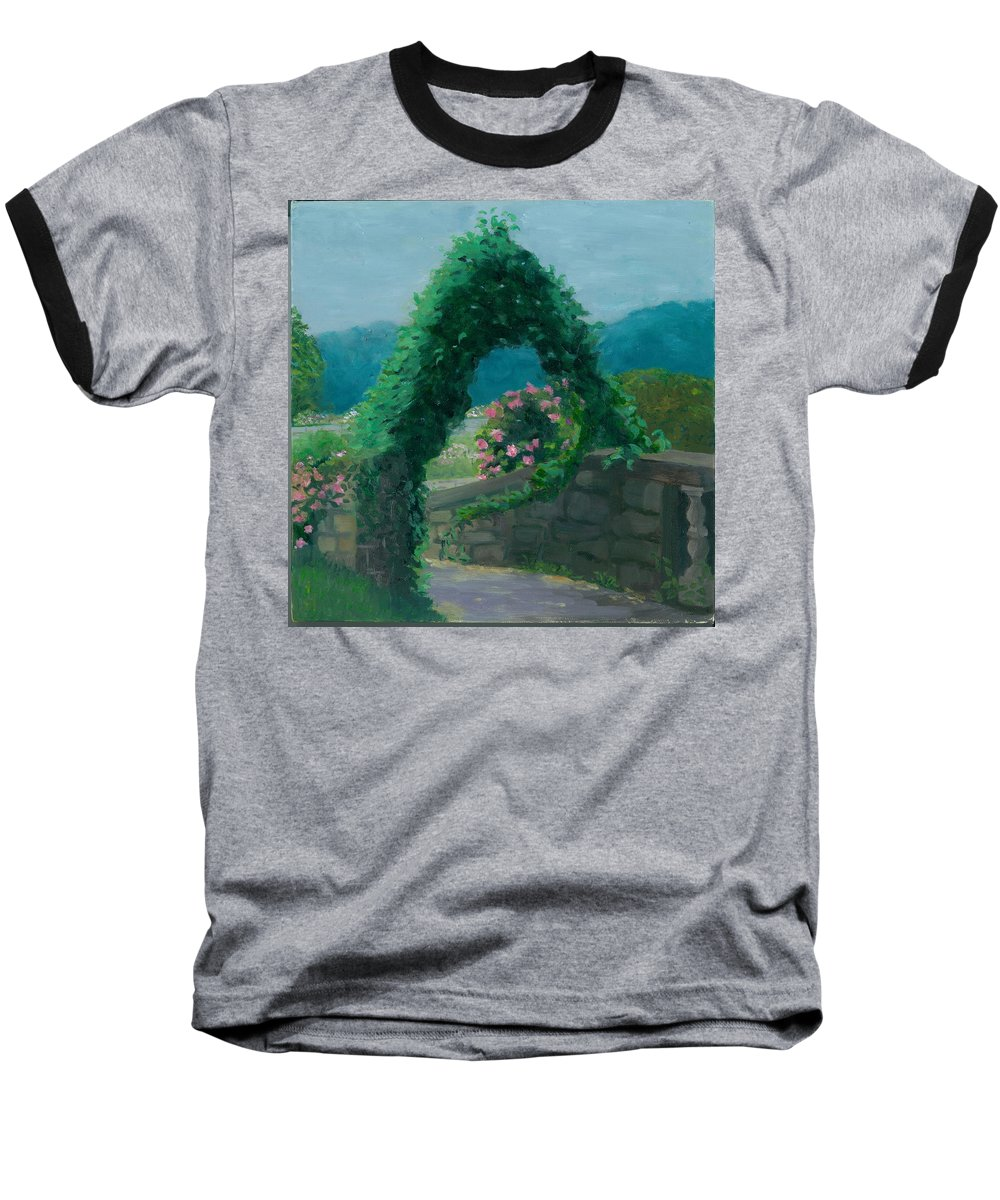 Landscape Baseball T-Shirt featuring the painting Morning At Harkness Park by Paula Emery