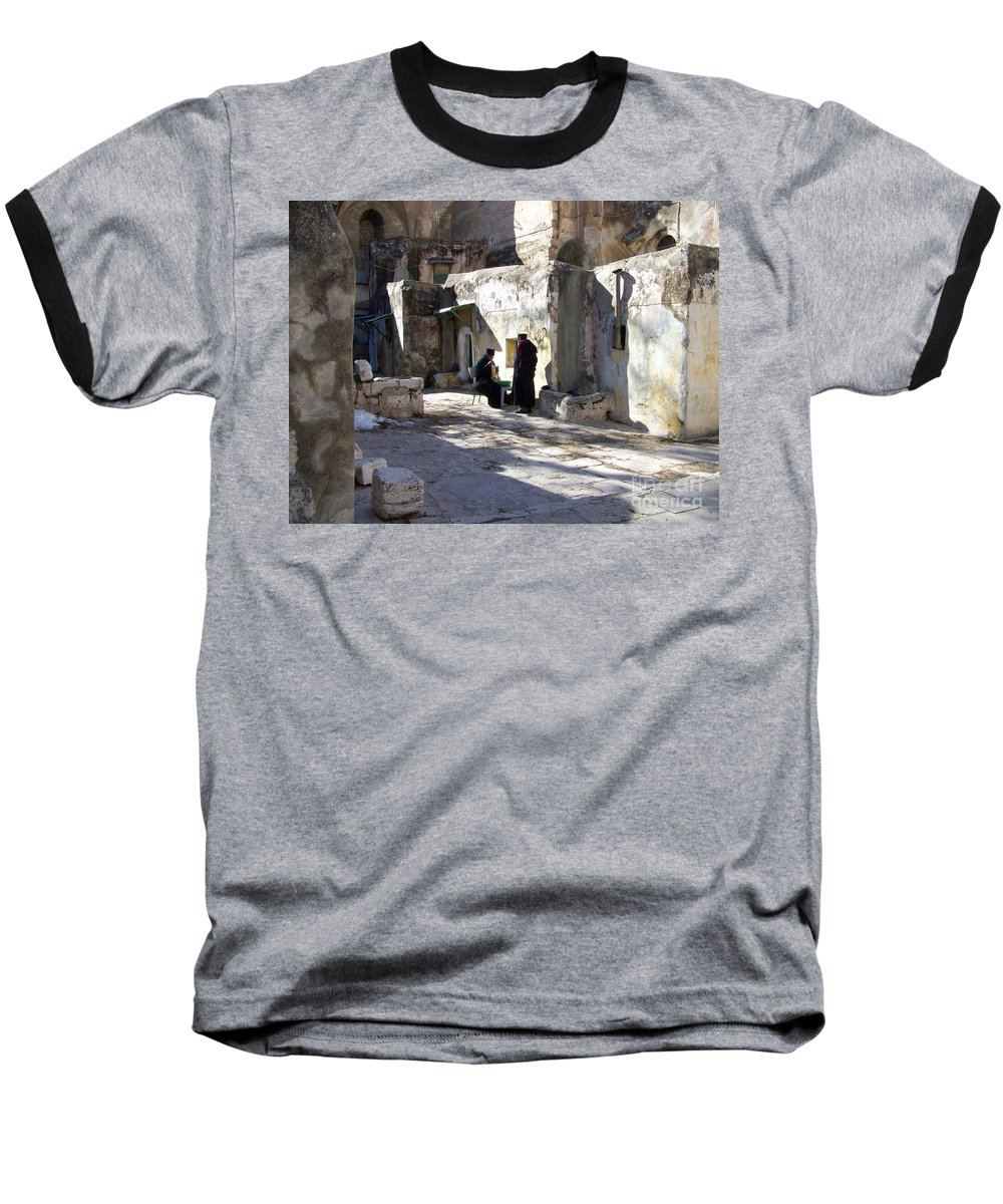 Jerusalem Baseball T-Shirt featuring the photograph Morning Conversation by Kathy McClure