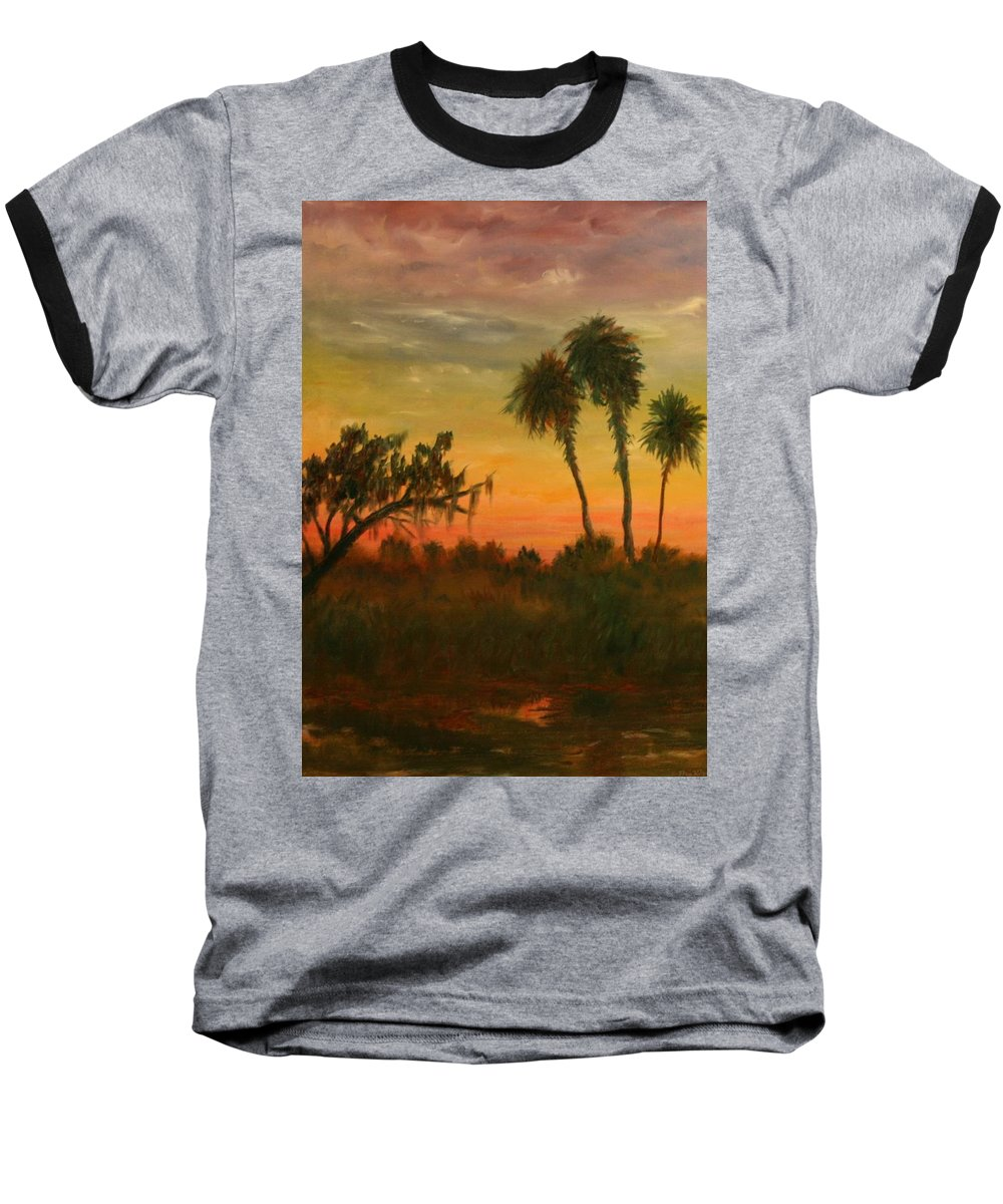 Palm Trees; Tropical; Marsh; Sunrise Baseball T-Shirt featuring the painting Morning Fog by Ben Kiger
