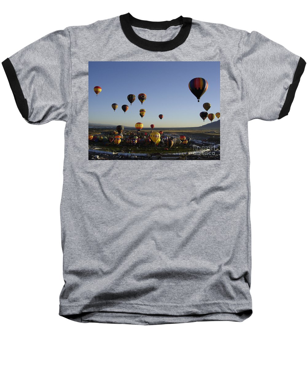 Hot Air Balloons Baseball T-Shirt featuring the photograph Morning Liftoff by Mary Rogers