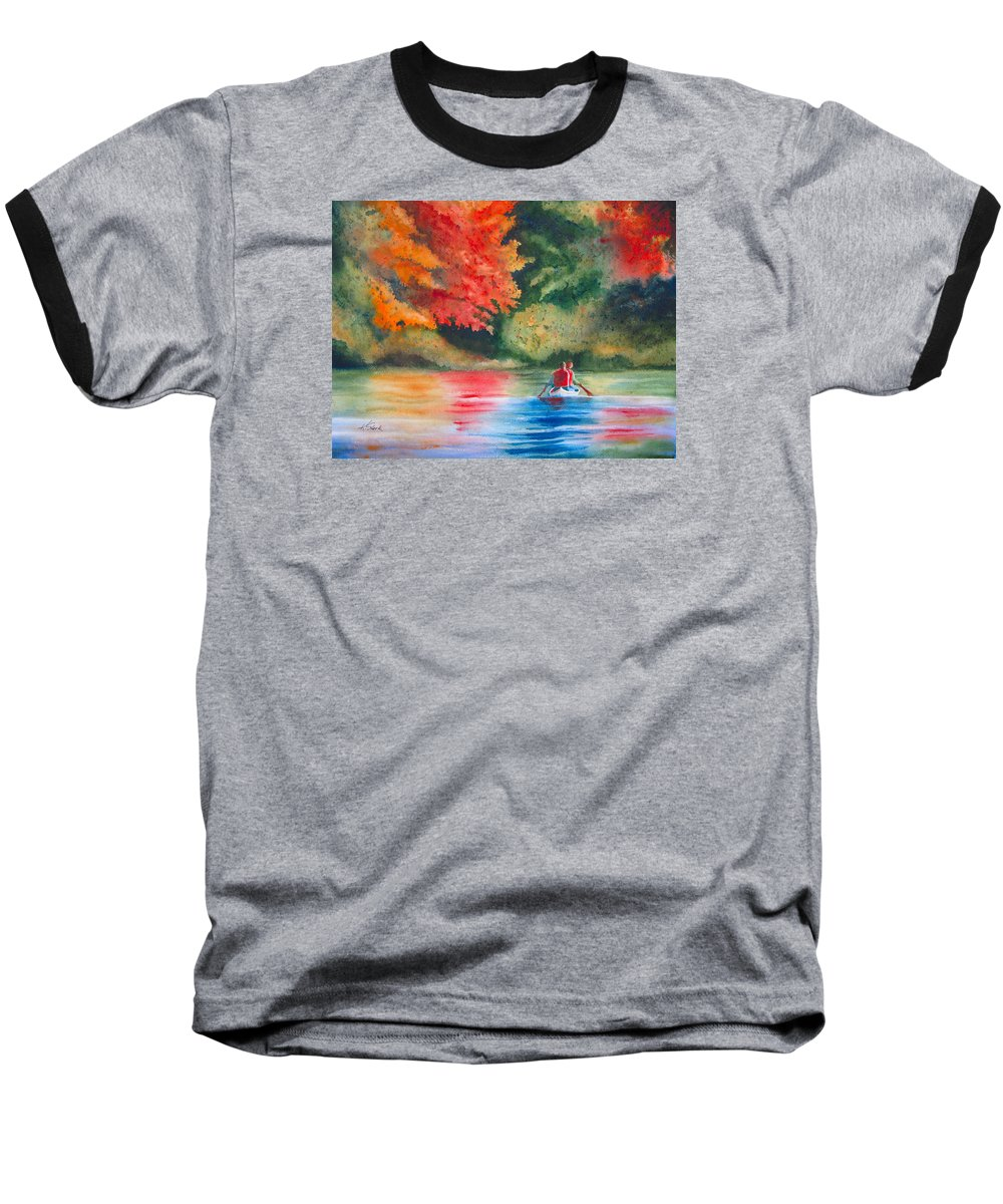 Lake Baseball T-Shirt featuring the painting Morning On The Lake by Karen Stark