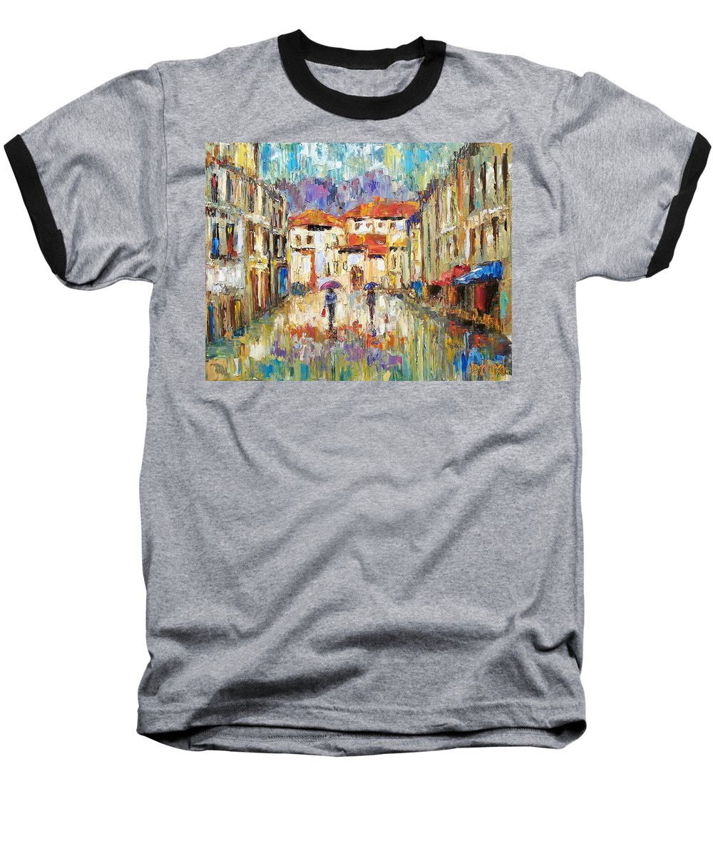 Landscape Baseball T-Shirt featuring the painting Morning Rain by Debra Hurd