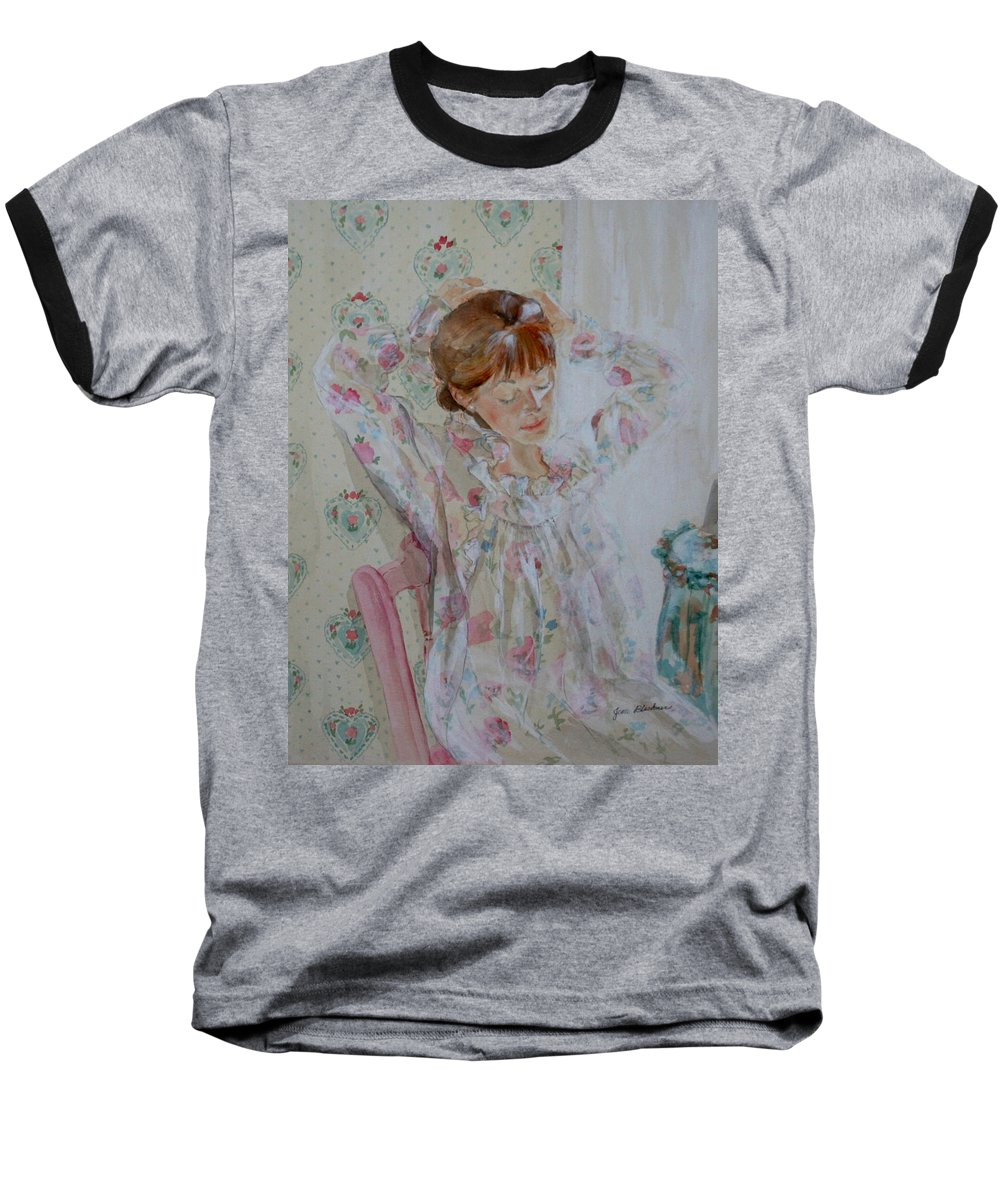 Morning Baseball T-Shirt featuring the painting Morning Ritual by Jean Blackmer