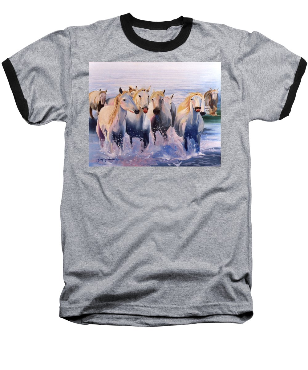Baseball T-Shirt featuring the painting Morning Run by Jay Johnson