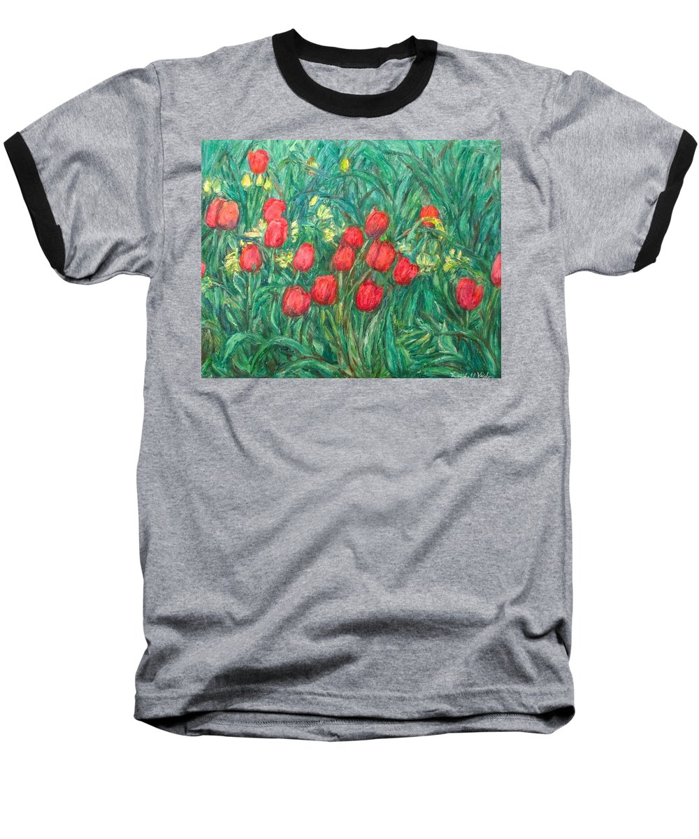 Kendall Kessler Baseball T-Shirt featuring the painting Mostly Tulips by Kendall Kessler