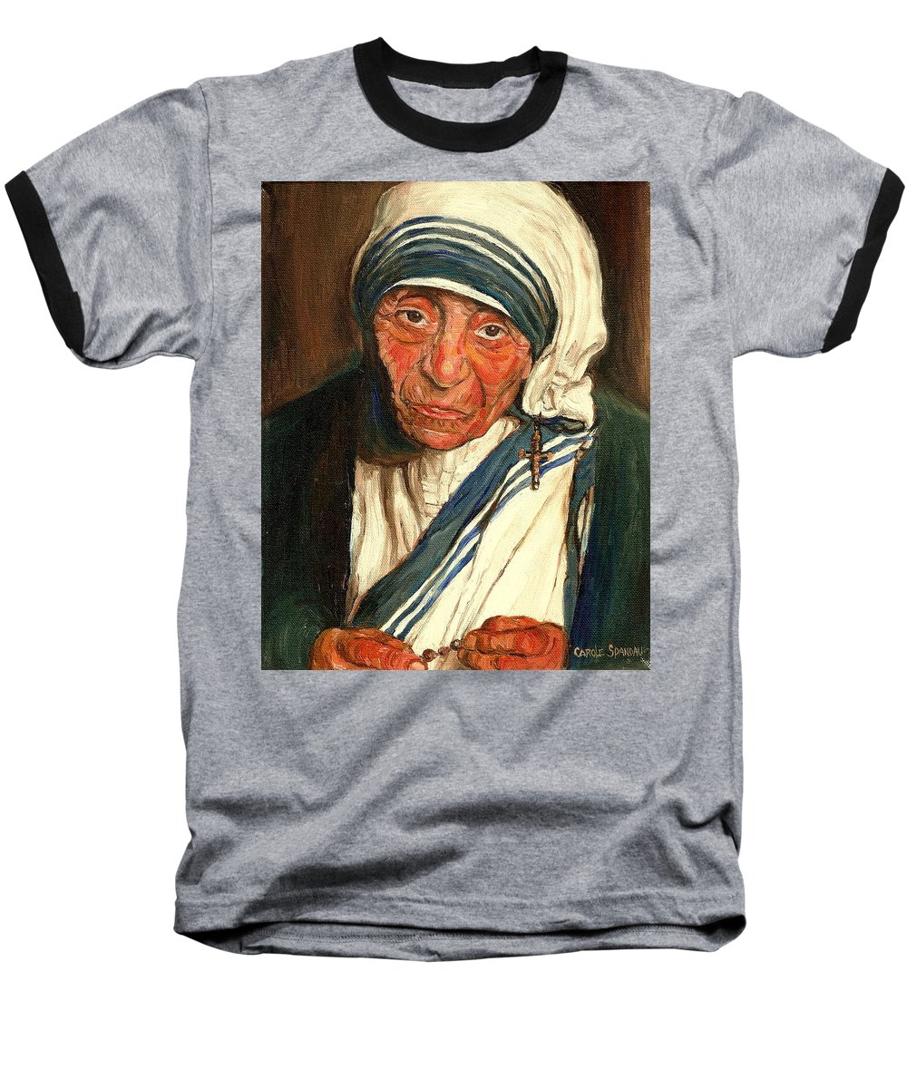 Mother Teresa Baseball T-Shirt featuring the painting Mother Teresa by Carole Spandau