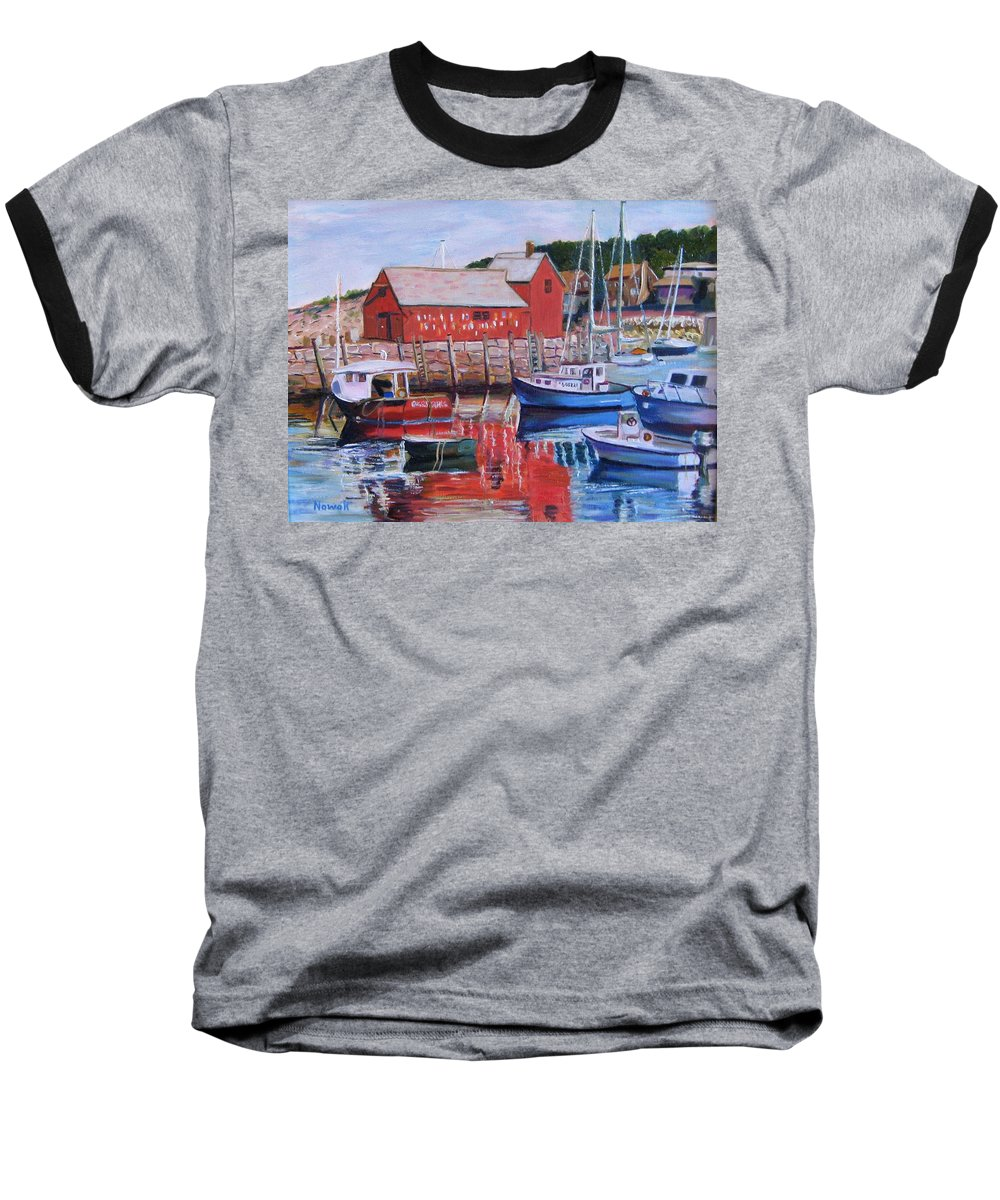 Rockport Baseball T-Shirt featuring the painting Motif Number One by Richard Nowak