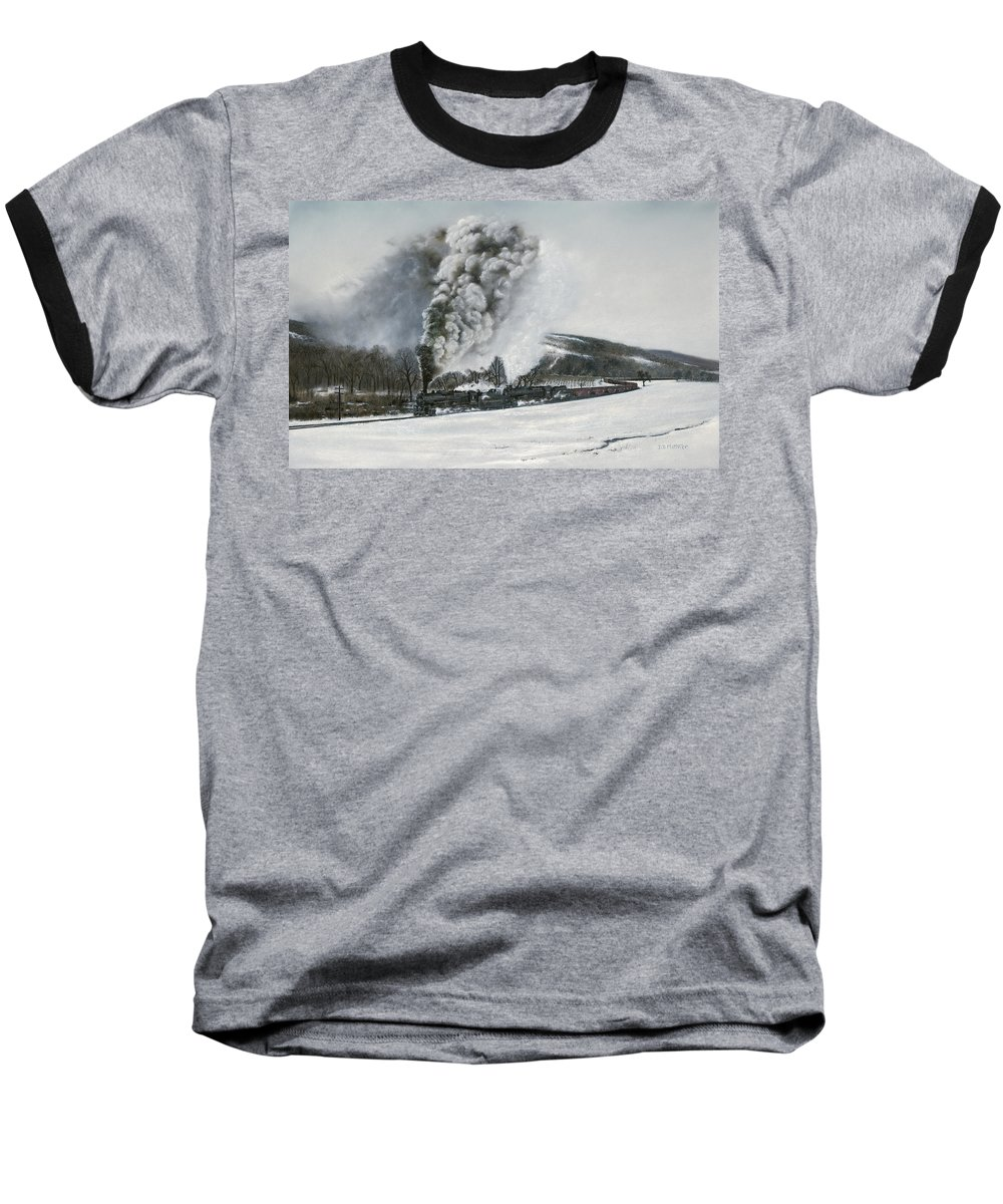 Trains Baseball T-Shirt featuring the painting Mount Carmel Eruption by David Mittner
