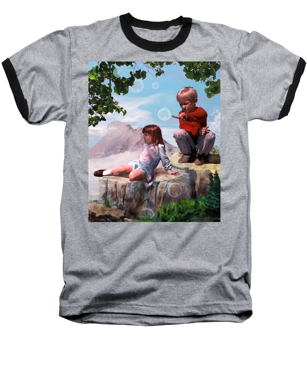 Landscape Baseball T-Shirt featuring the painting Mount Innocence by Steve Karol