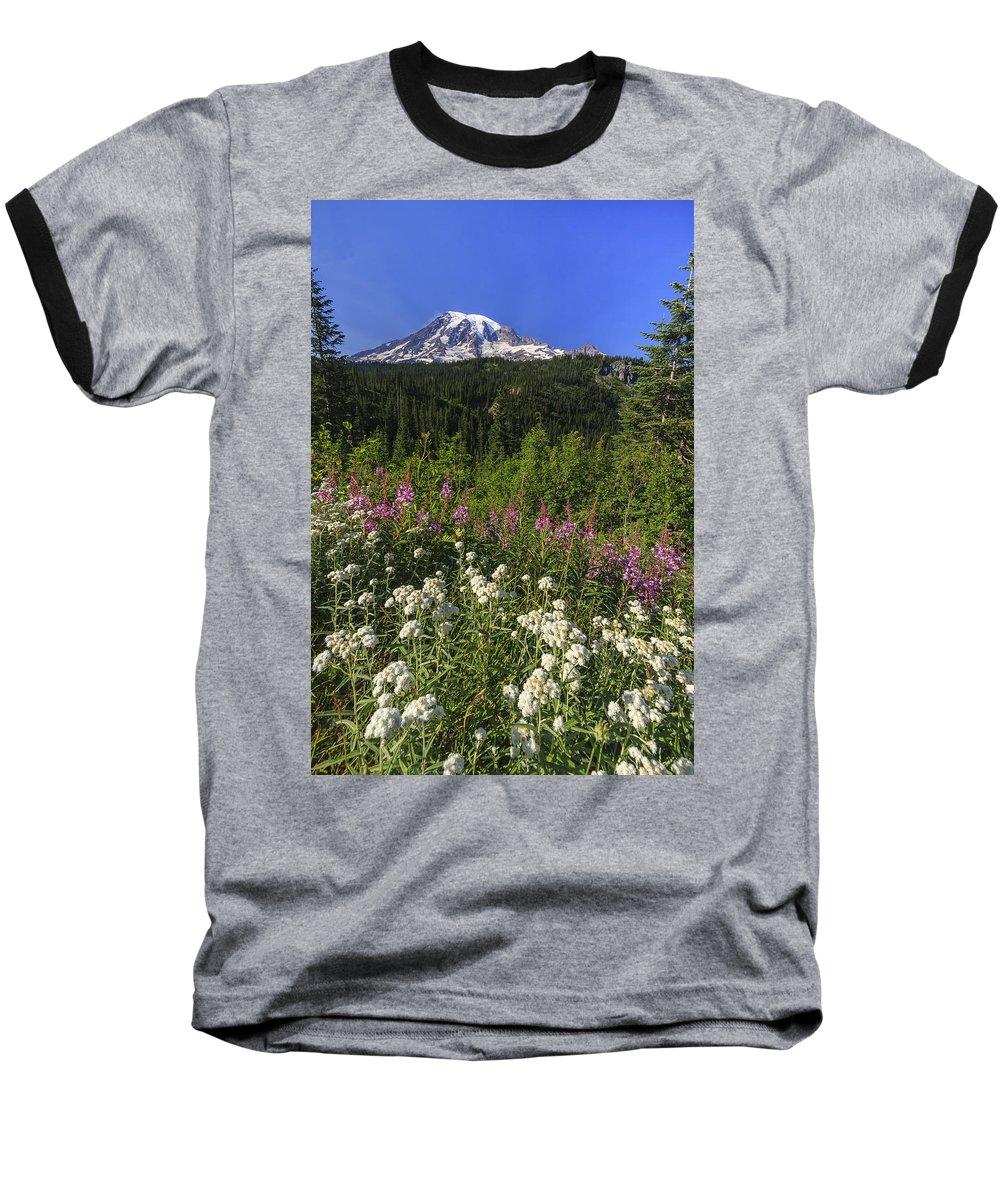 3scape Baseball T-Shirt featuring the photograph Mount Rainier by Adam Romanowicz