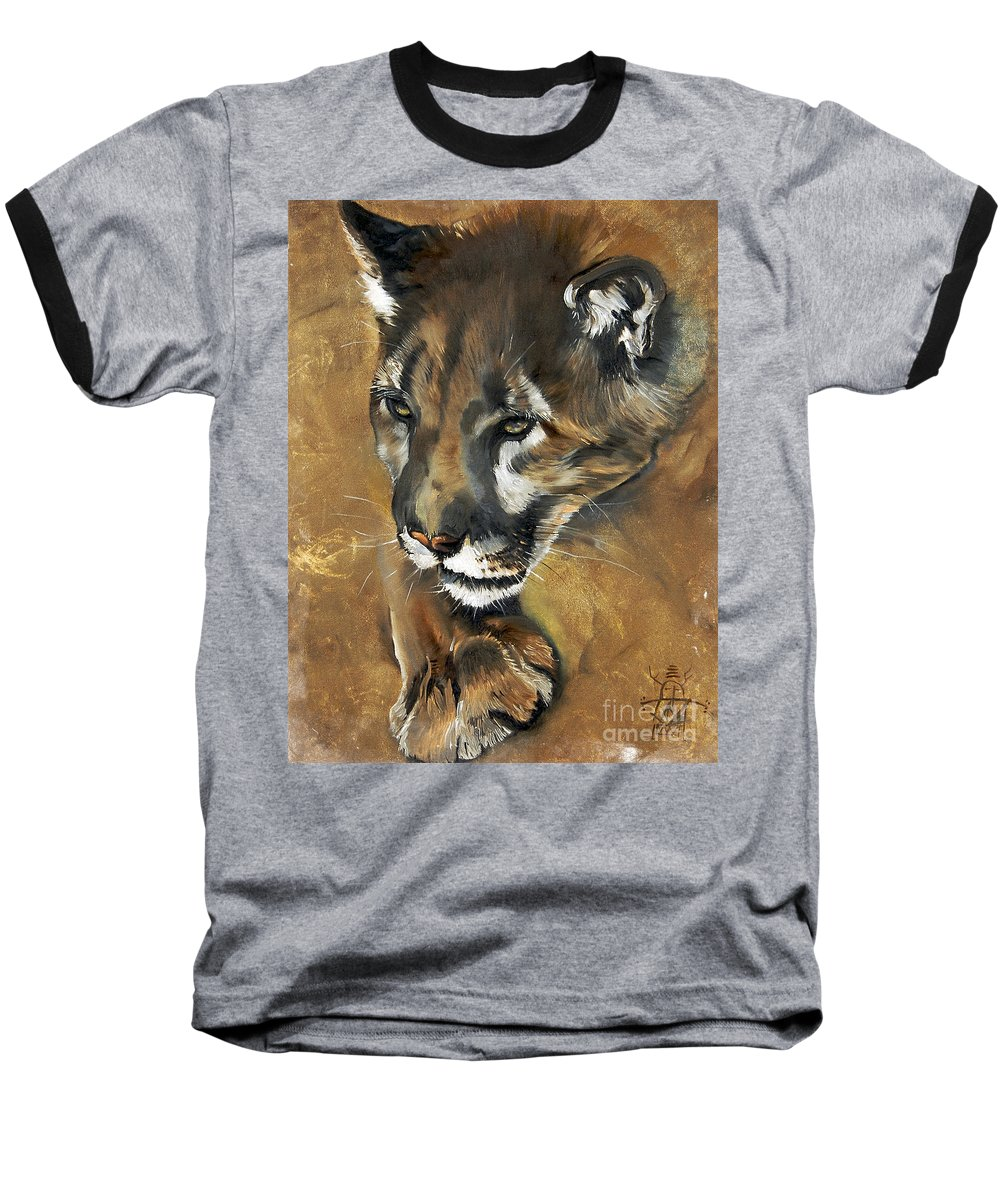 Southwest Art Baseball T-Shirt featuring the painting Mountain Lion - Guardian Of The North by J W Baker