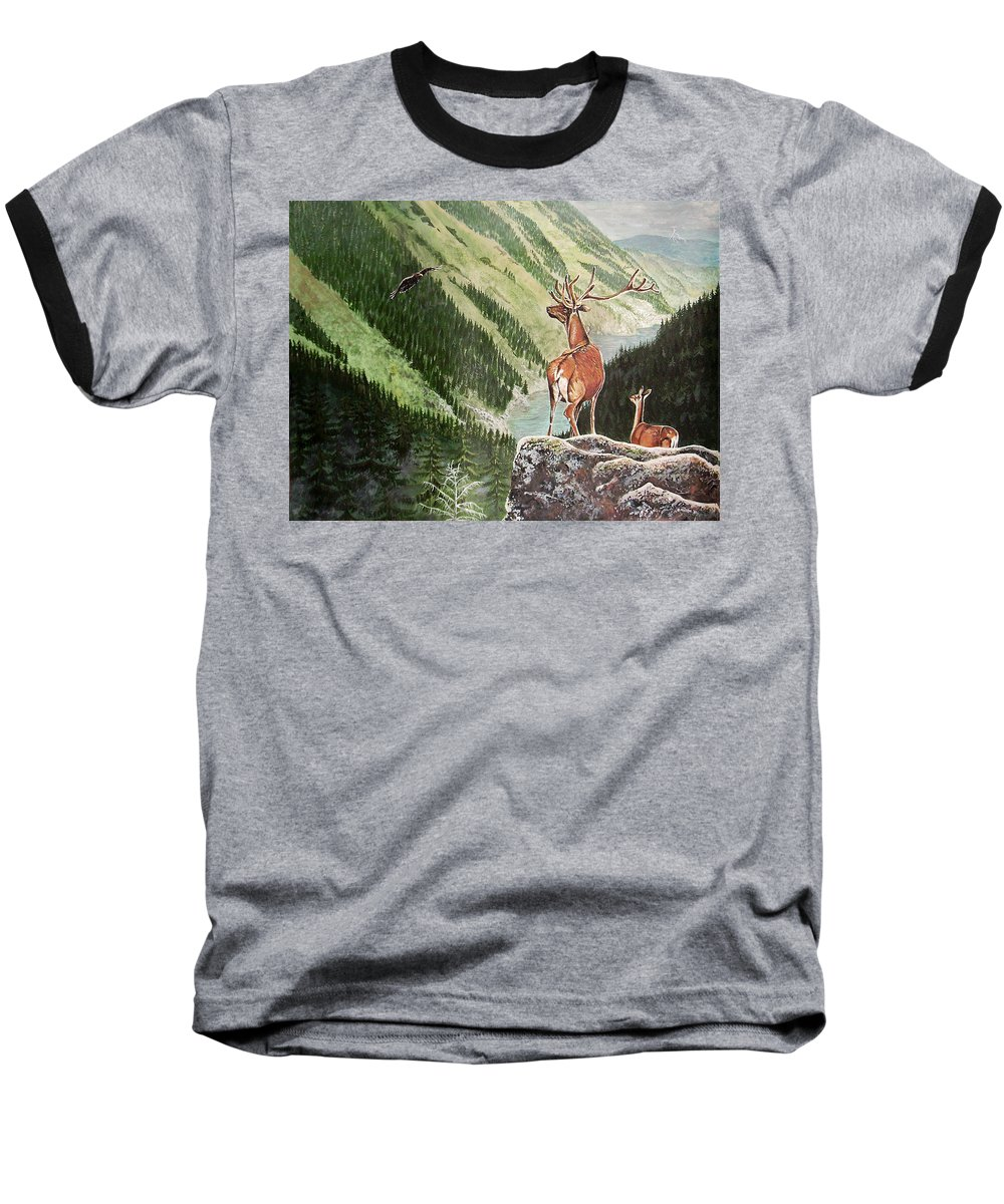 Deer Baseball T-Shirt featuring the painting Mountain Morning by Arie Van der Wijst