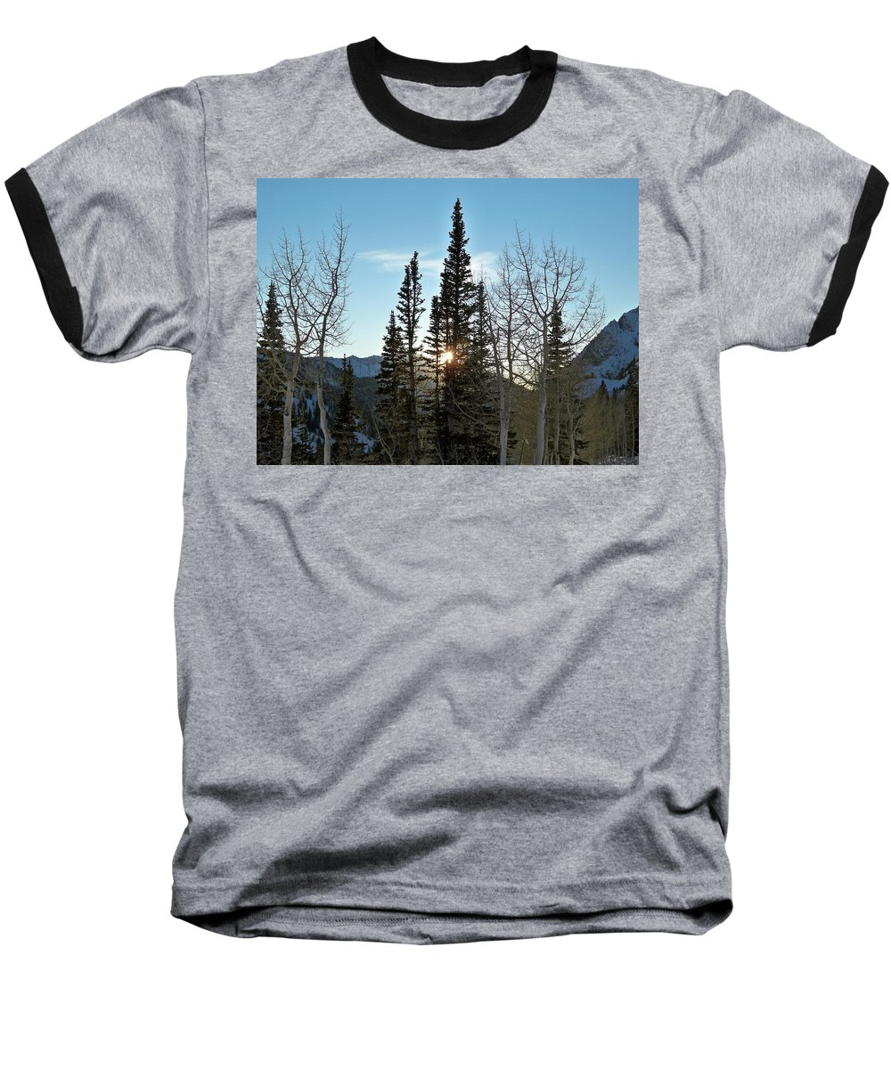 Rural Baseball T-Shirt featuring the photograph Mountain Sunset by Michael Cuozzo