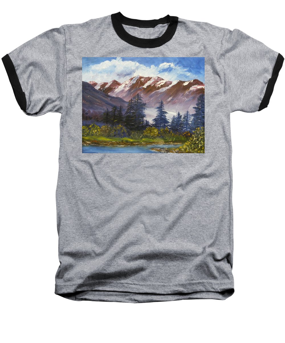 Oil Painting Baseball T-Shirt featuring the painting Mountains I by Lessandra Grimley