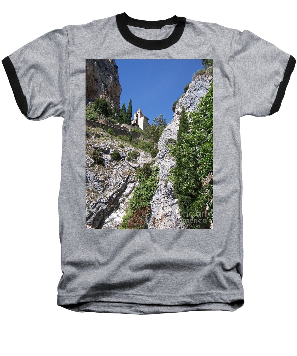 Church Baseball T-Shirt featuring the photograph Moustier St. Marie Church by Nadine Rippelmeyer