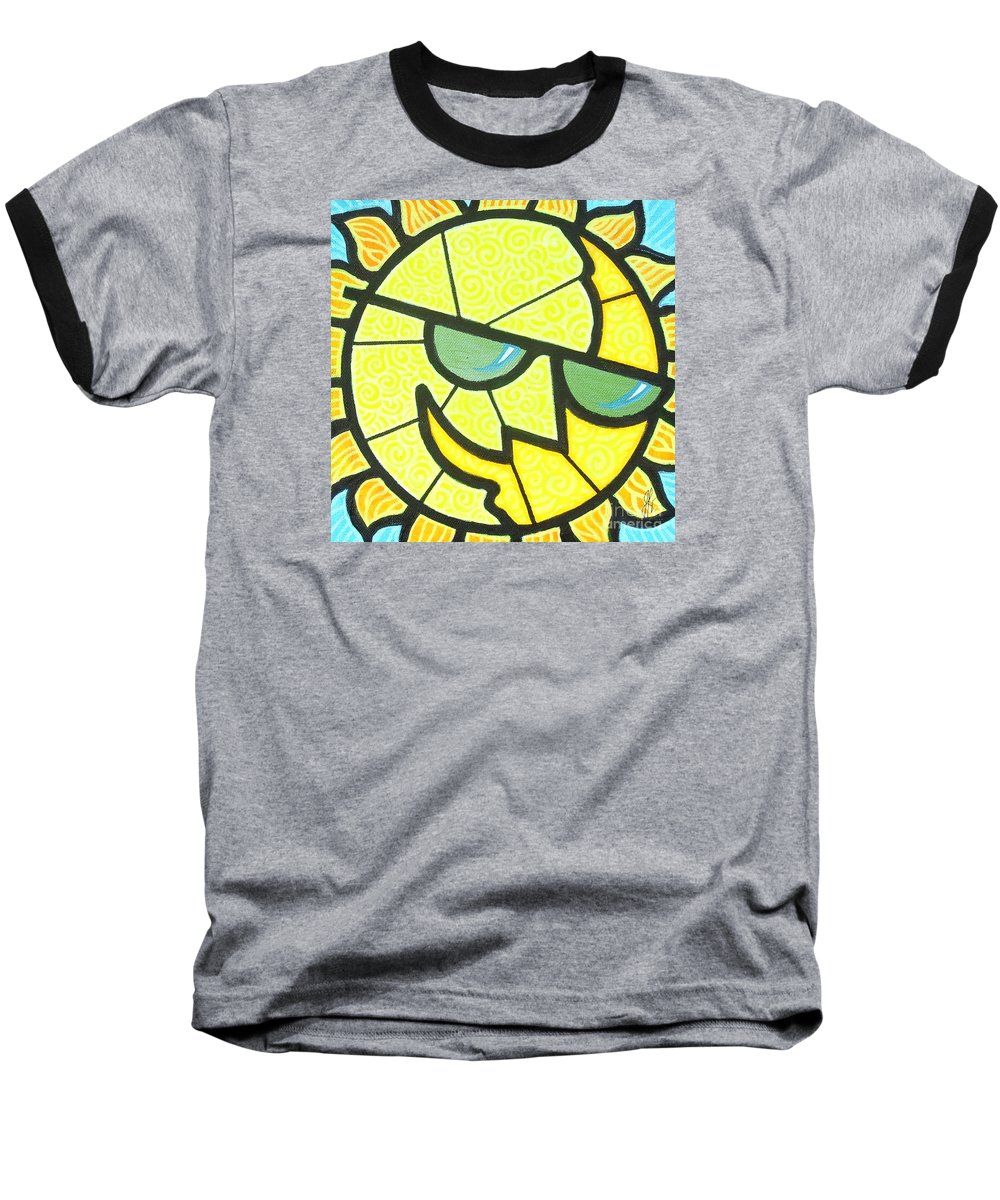 Sunshine Baseball T-Shirt featuring the painting Mr Sunny Day by Jim Harris