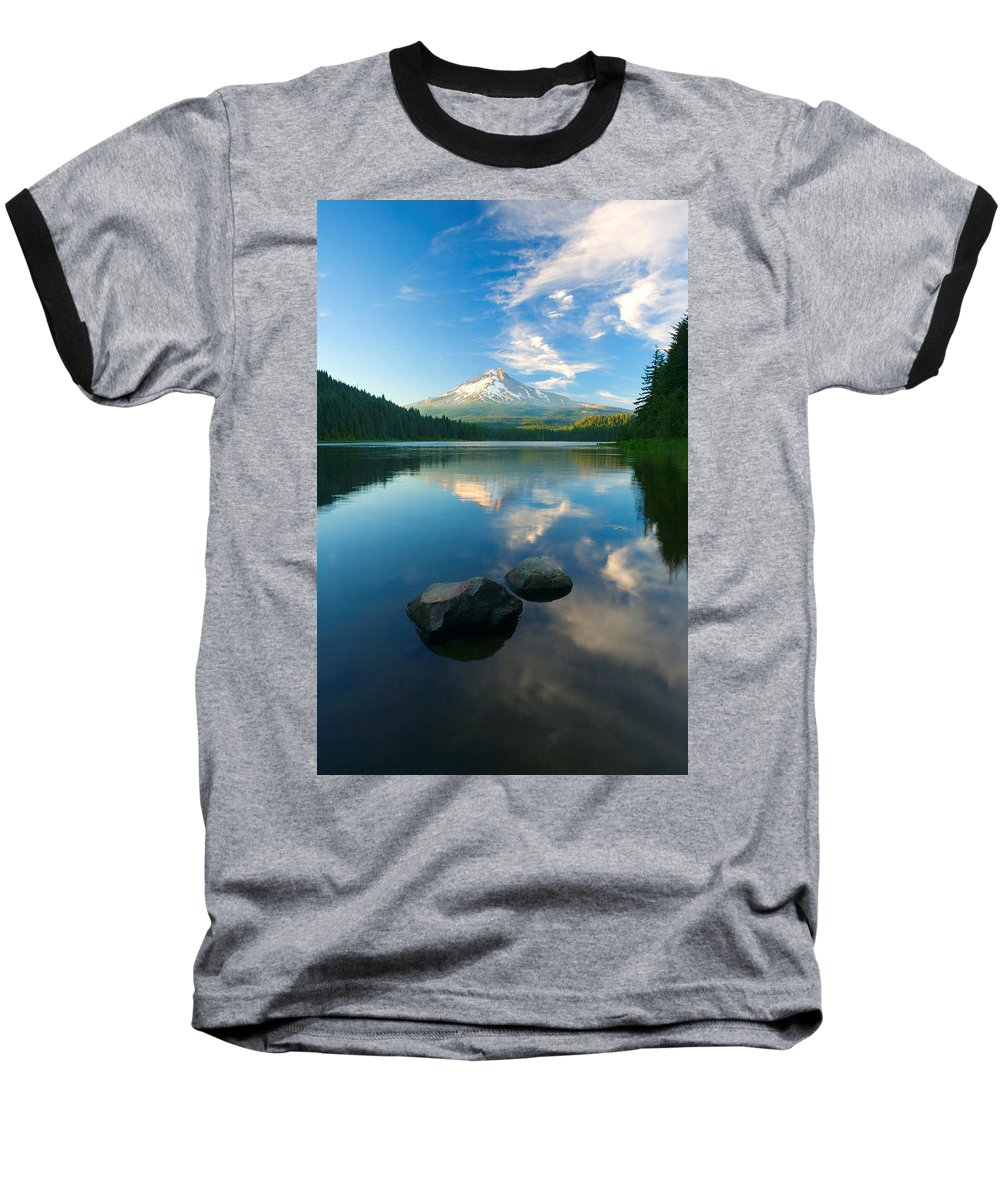 Mt. Hood Baseball T-Shirt featuring the photograph Mt. Hood Cirrus Explosion by Mike Dawson