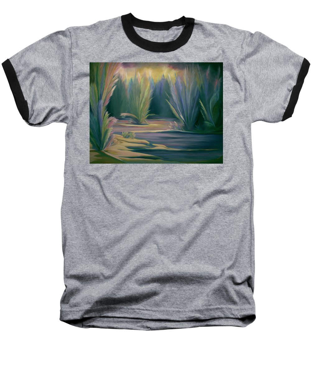 Feathers Baseball T-Shirt featuring the painting Mural Field Of Feathers by Nancy Griswold