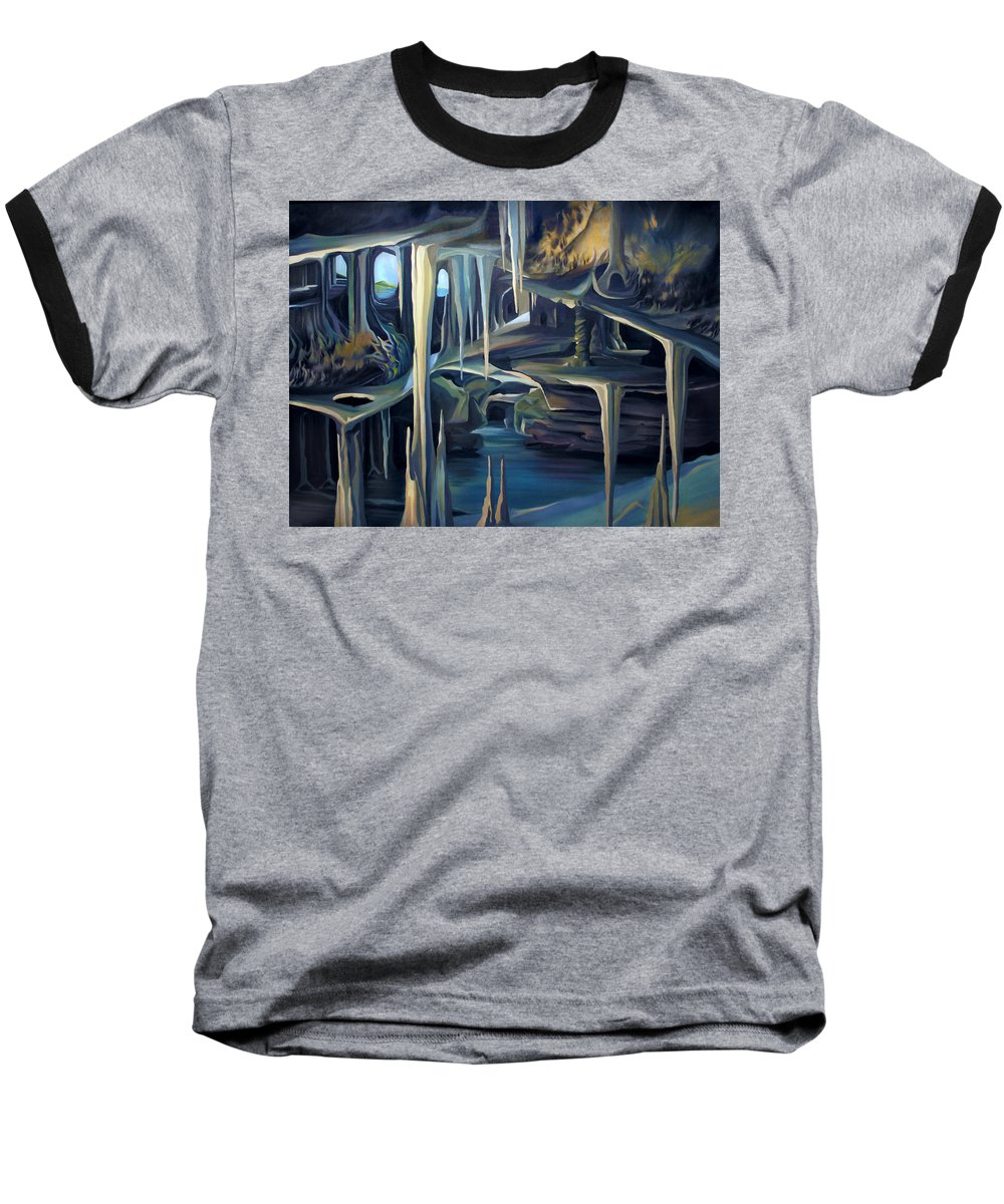 Mural Baseball T-Shirt featuring the painting Mural Ice Monks In November by Nancy Griswold