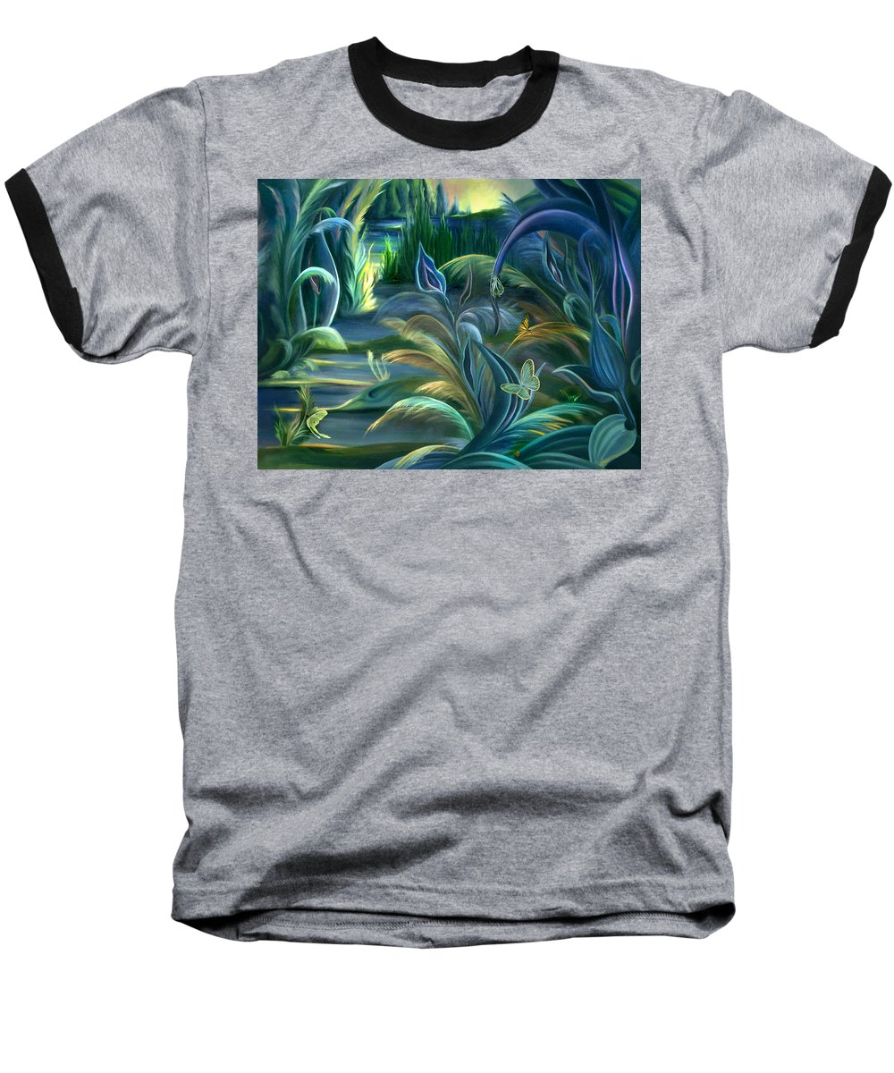 Mural Baseball T-Shirt featuring the painting Mural Insects Of Enchanted Stream by Nancy Griswold