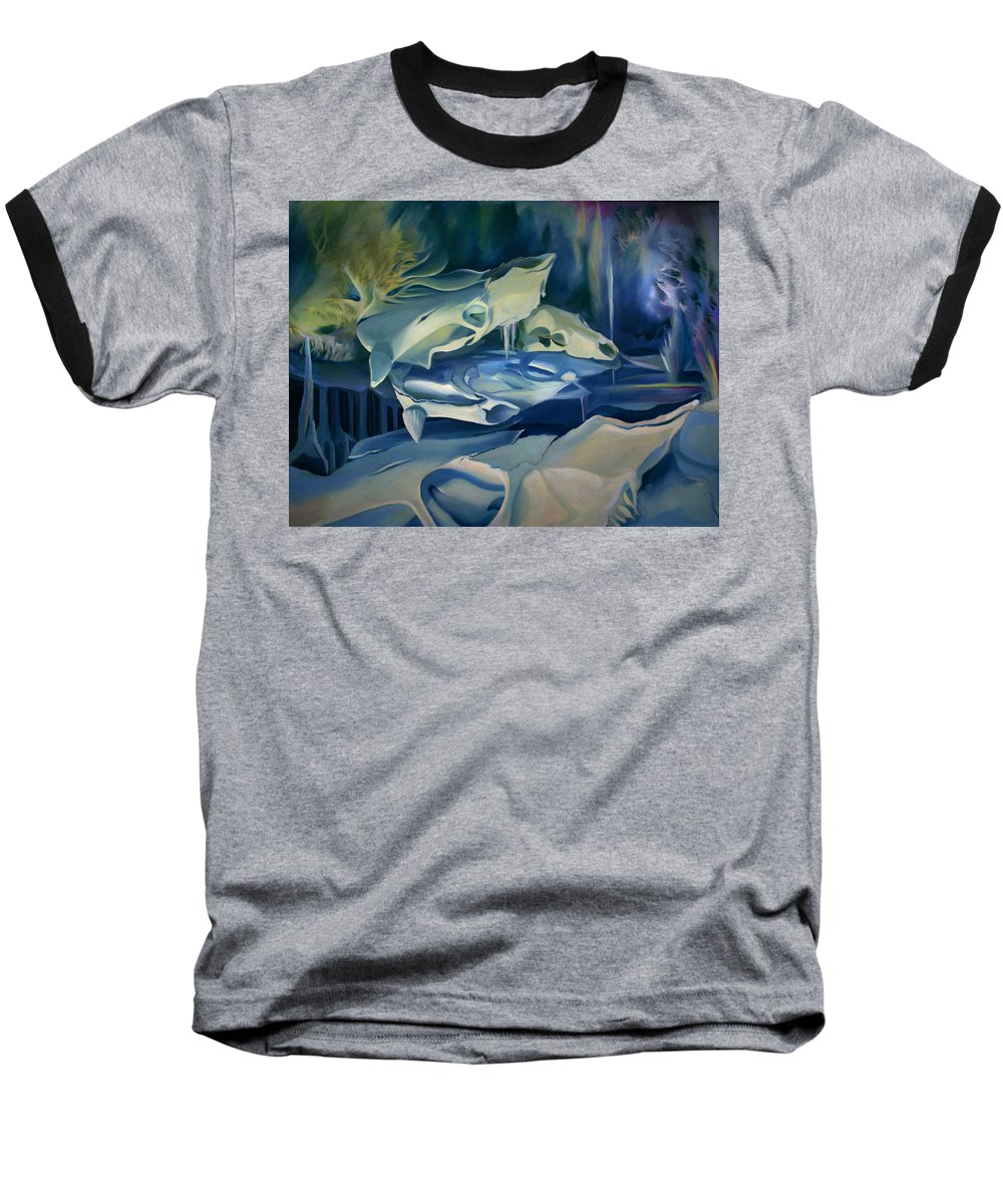 Surreal Baseball T-Shirt featuring the painting Mural Skulls Of Lifes Past by Nancy Griswold