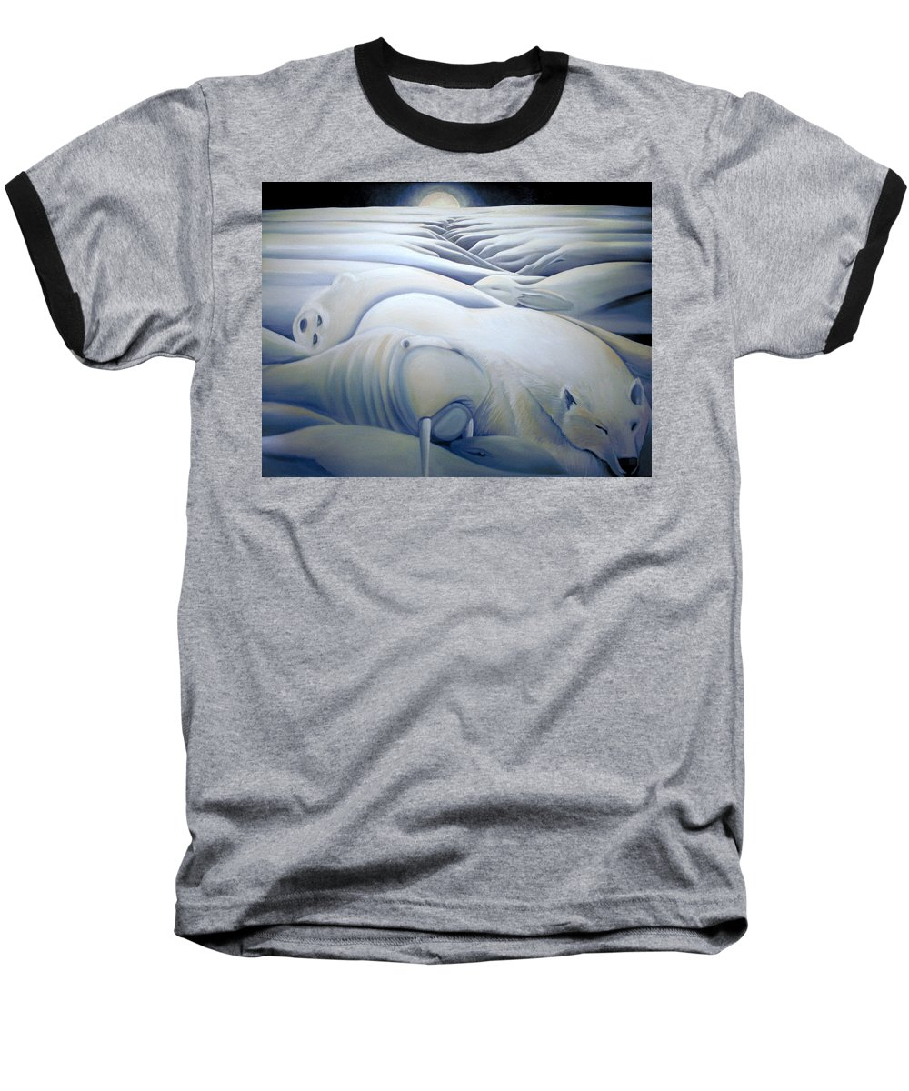 Mural Baseball T-Shirt featuring the painting Mural Winters Embracing Crevice by Nancy Griswold