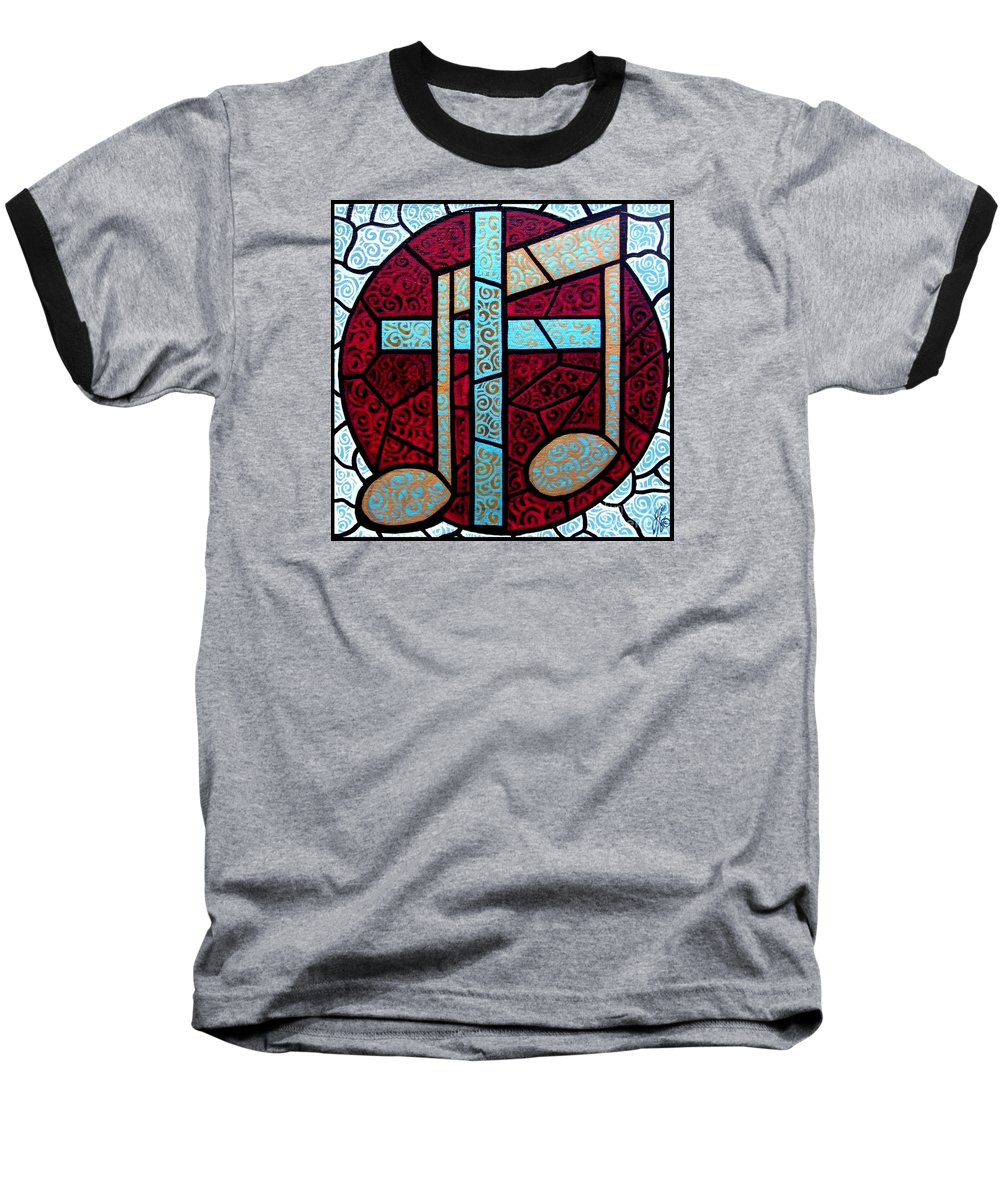 Cross Baseball T-Shirt featuring the painting Music Of The Cross by Jim Harris
