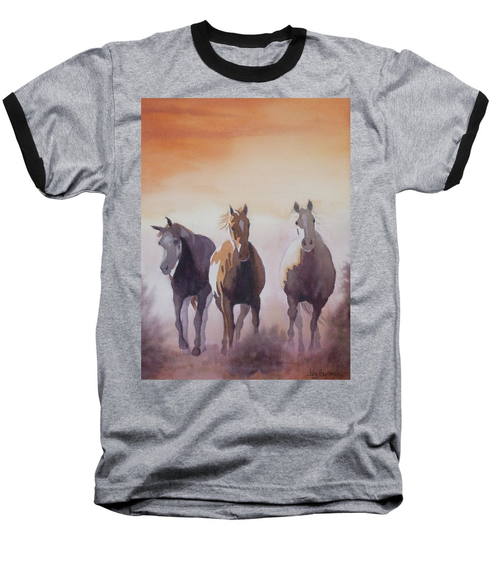 Horse Baseball T-Shirt featuring the painting Mustangs Out Of The Fire by Ally Benbrook