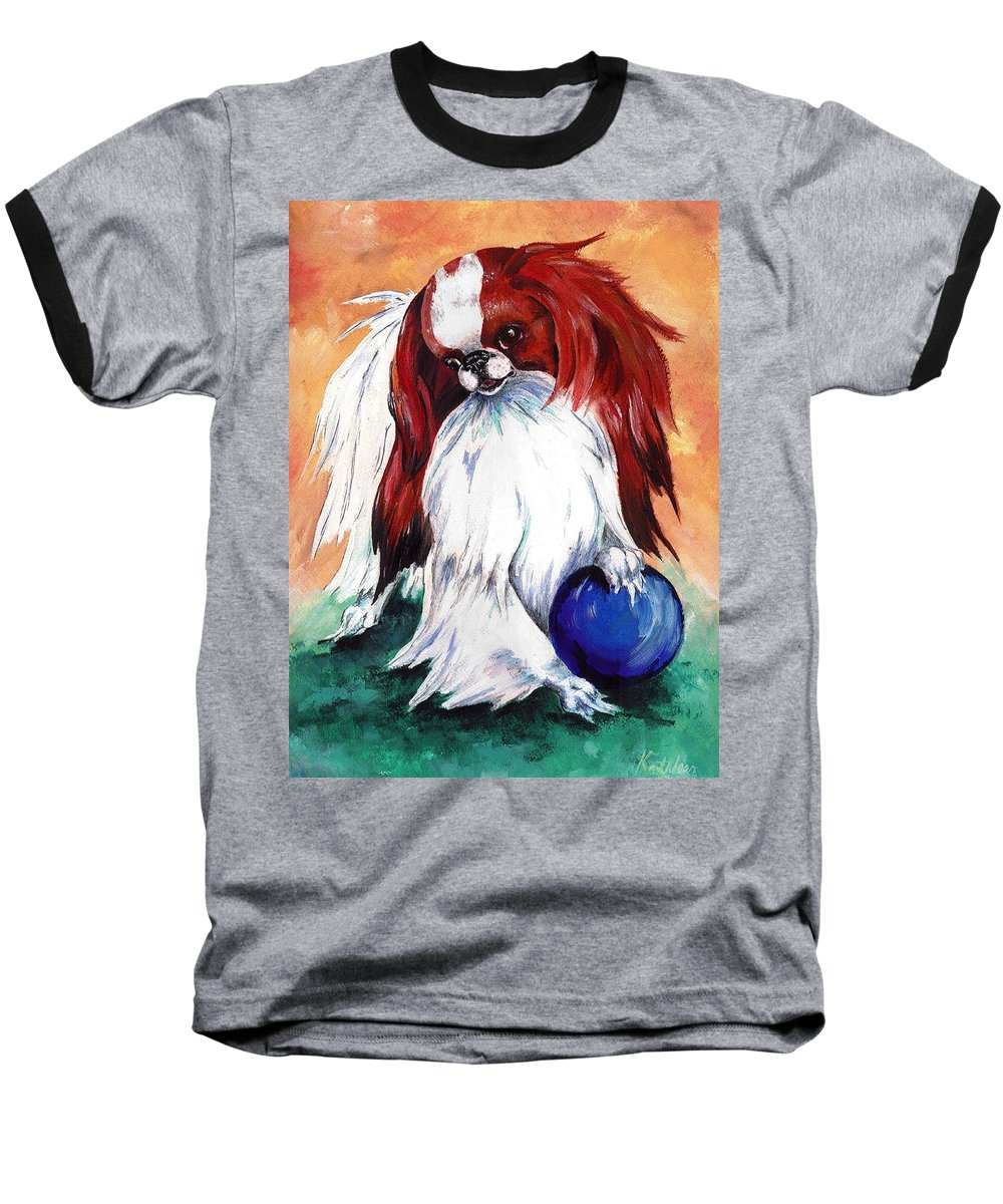Japanese Chin Baseball T-Shirt featuring the painting My Ball by Kathleen Sepulveda