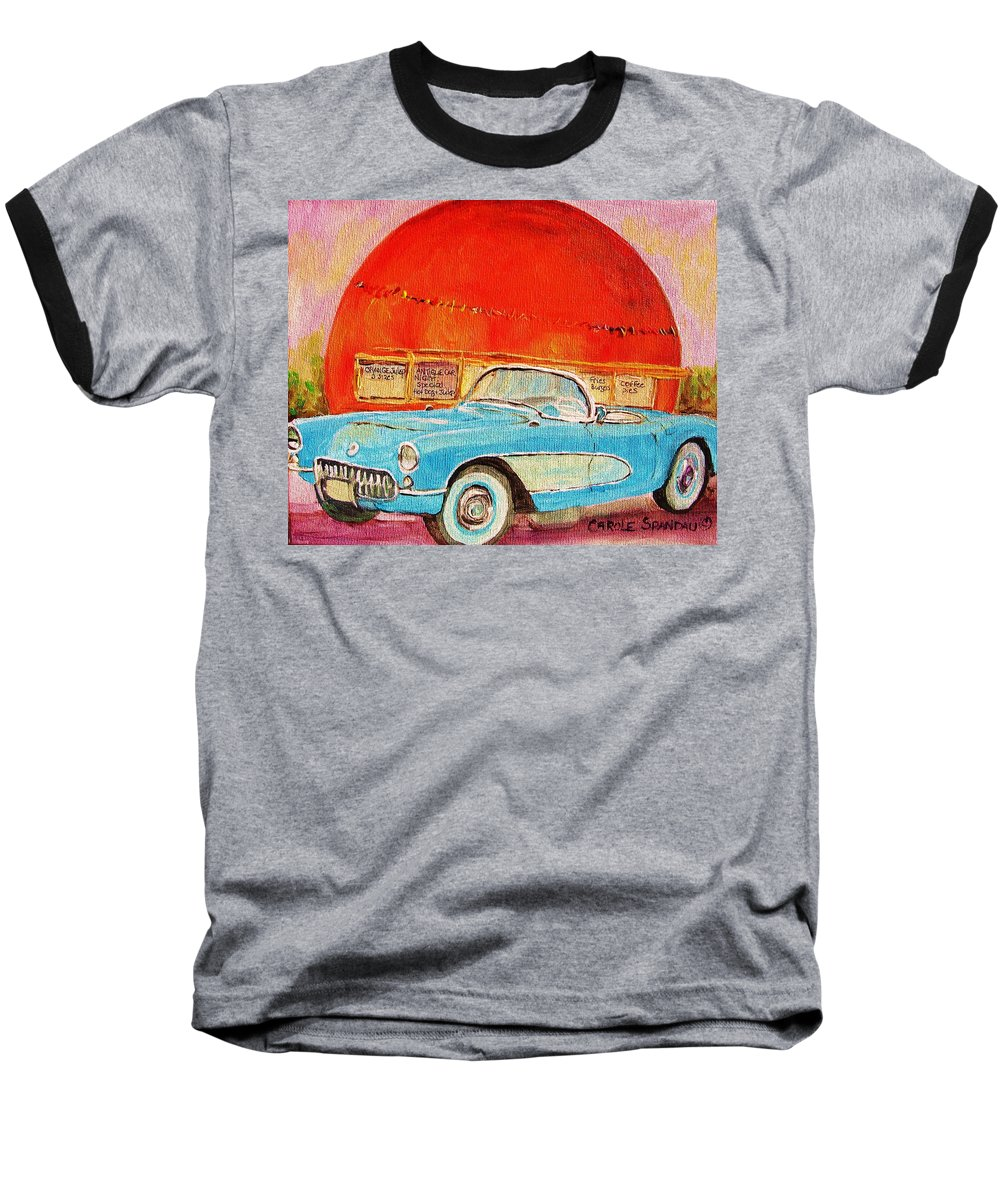 Montreal Baseball T-Shirt featuring the painting My Blue Corvette At The Orange Julep by Carole Spandau