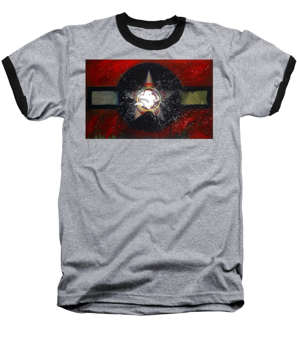 Usaaf Insignia Baseball T-Shirt featuring the painting My Indian Red by Charles Stuart