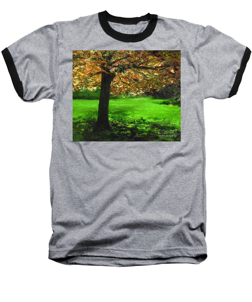 Spiritualism Baseball T-Shirt featuring the painting My Love Of Trees I by Lizzy Forrester