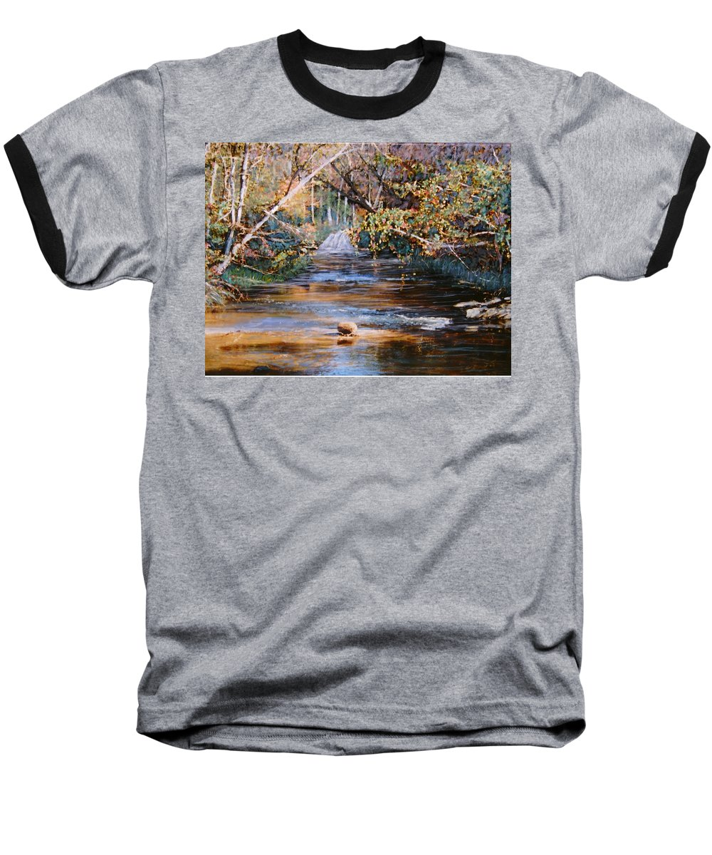 Peace Project Baseball T-Shirt featuring the painting My Secret Place by Ben Kiger