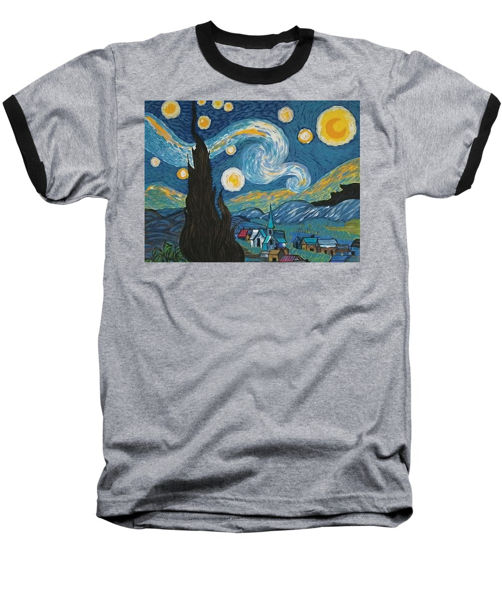 Vincent Baseball T-Shirt featuring the painting My Starry Nite by Angela Miles Varnado