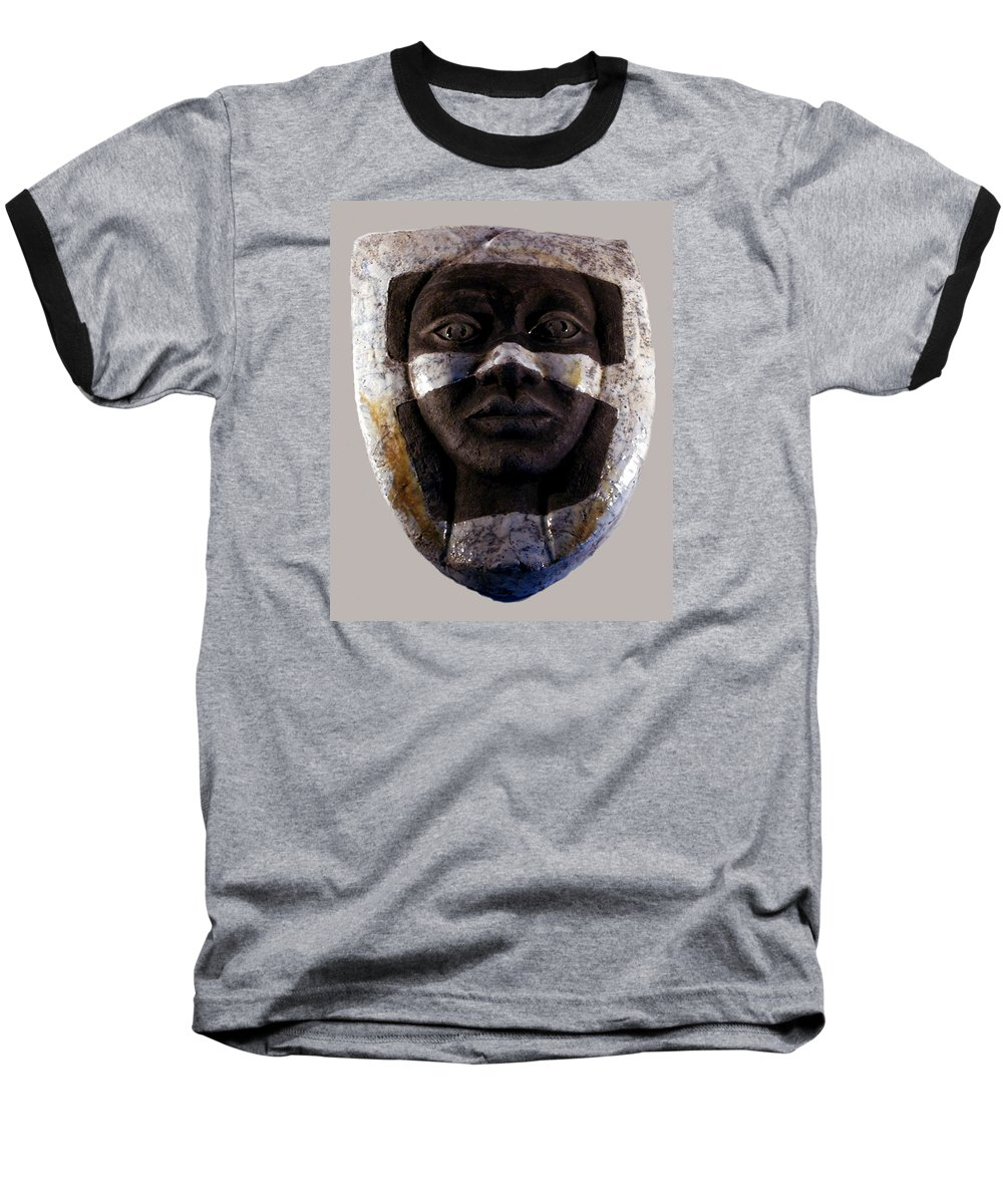 Ceramic Baseball T-Shirt featuring the relief My Veils I by Madalena Lobao-Tello