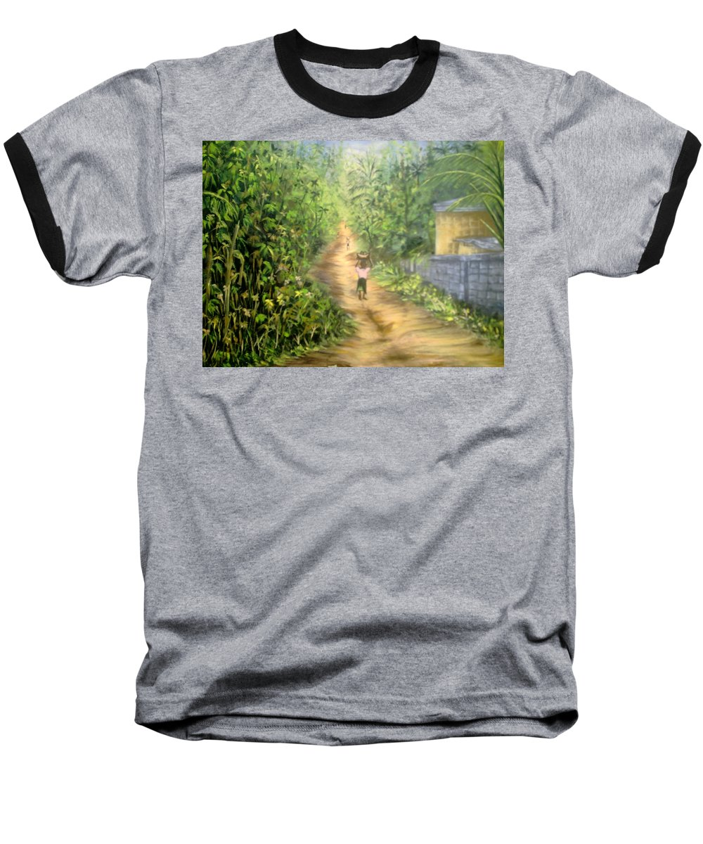 Culture Baseball T-Shirt featuring the painting My Village by Olaoluwa Smith