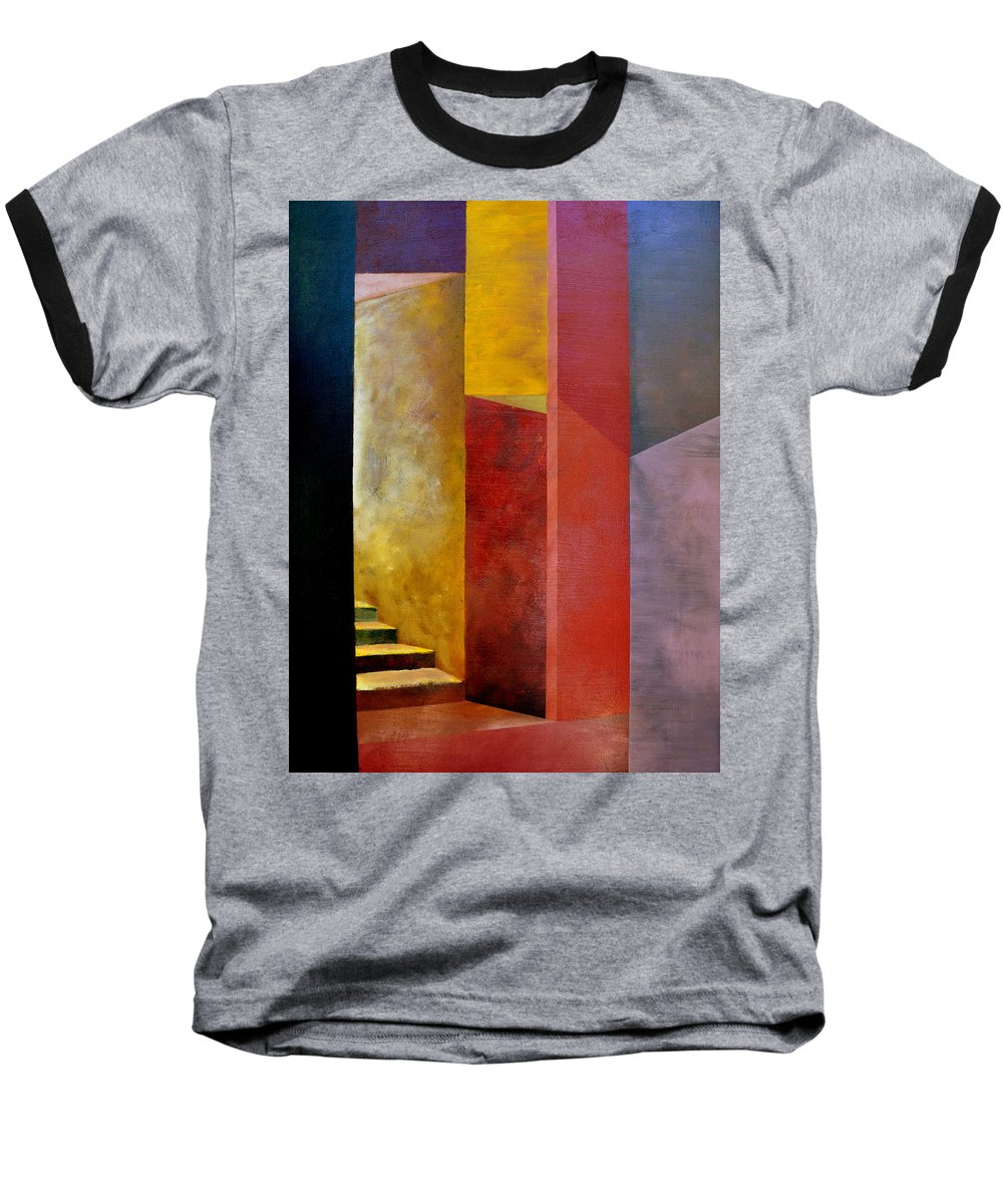 Gold Baseball T-Shirt featuring the painting Mystery Stairway by Michelle Calkins