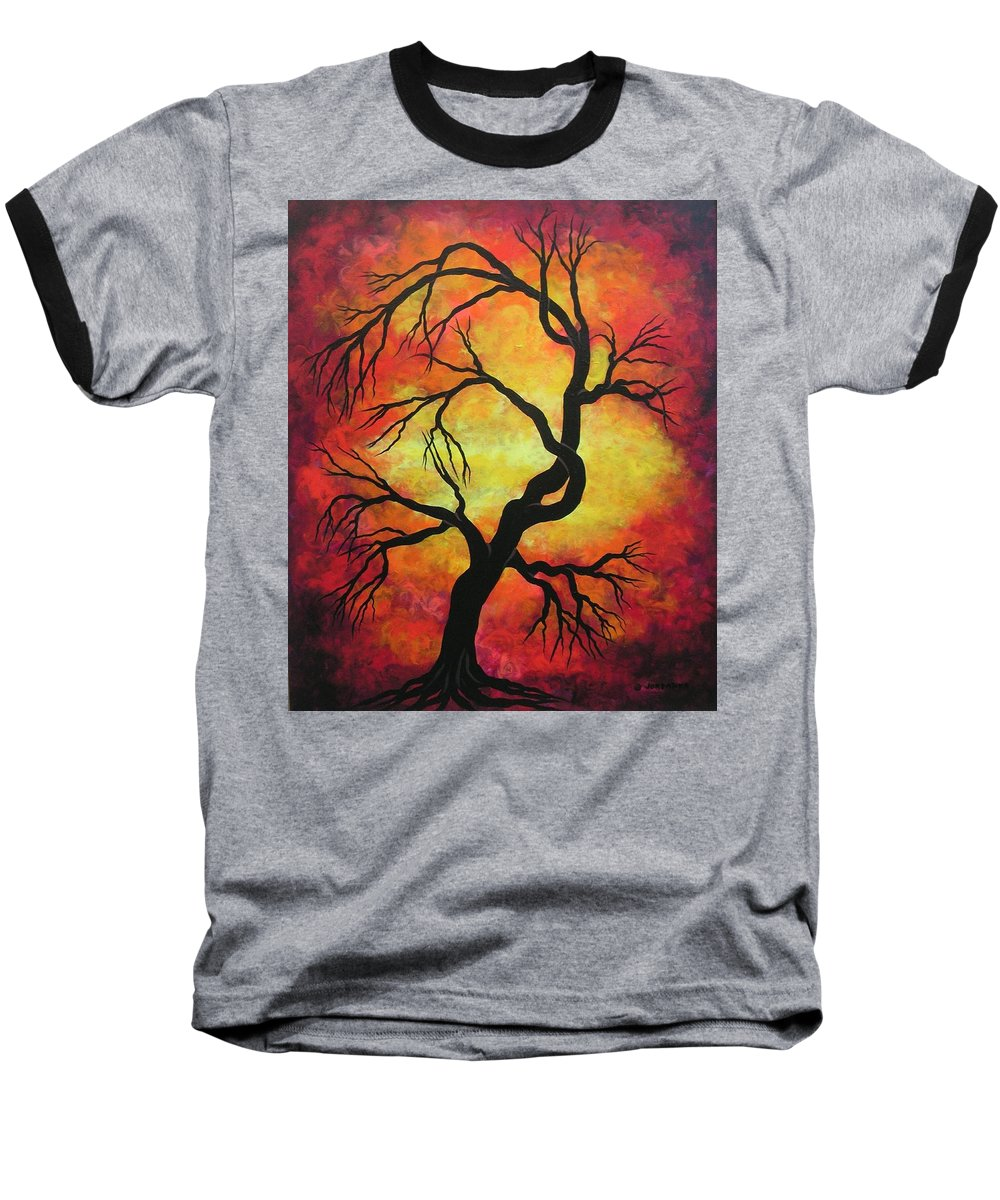 Acrylic Baseball T-Shirt featuring the painting Mystic Firestorm by Jordanka Yaretz