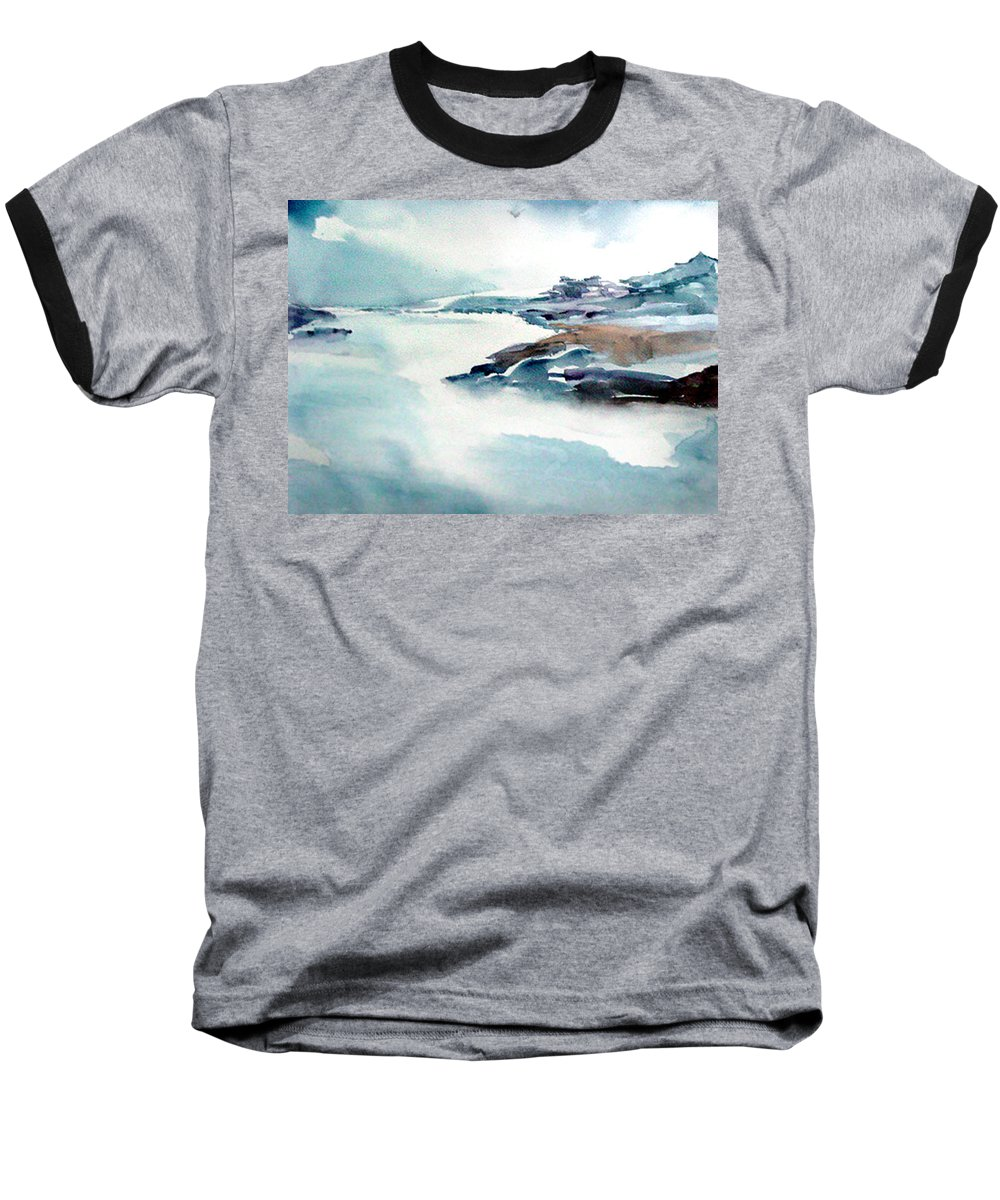 River Baseball T-Shirt featuring the painting Mystic River by Anil Nene