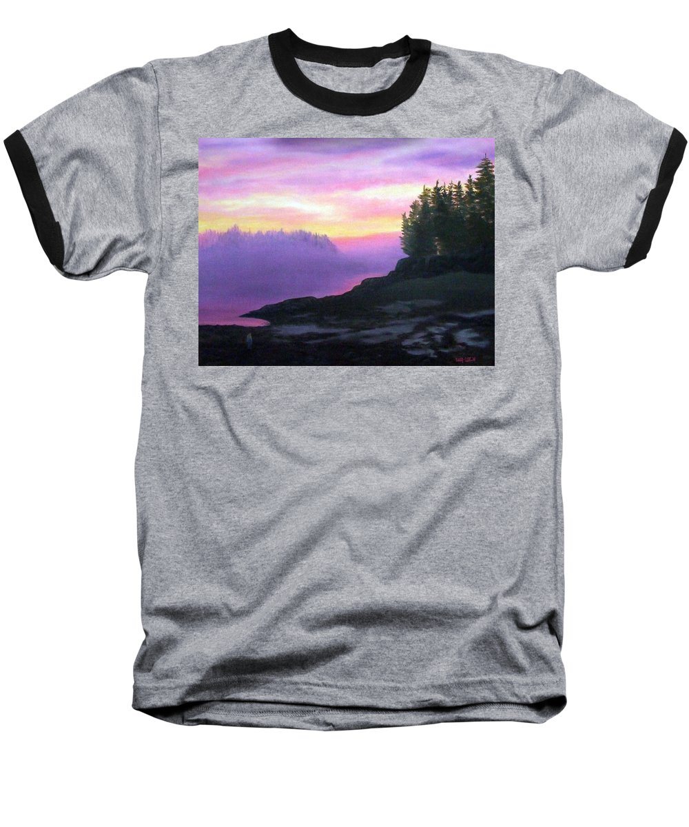 Sunset Baseball T-Shirt featuring the painting Mystical Sunset by Sharon E Allen