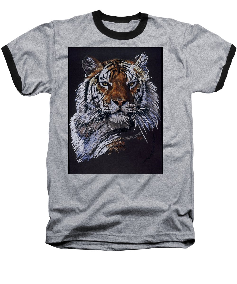 Tiger Baseball T-Shirt featuring the drawing Nakita by Barbara Keith