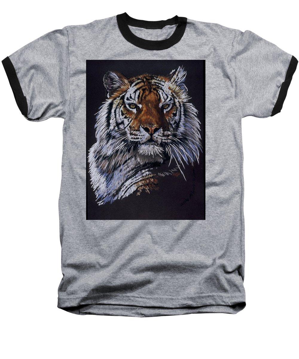 Tiger Baseball T-Shirt featuring the drawing Nakita by Barbara Keith