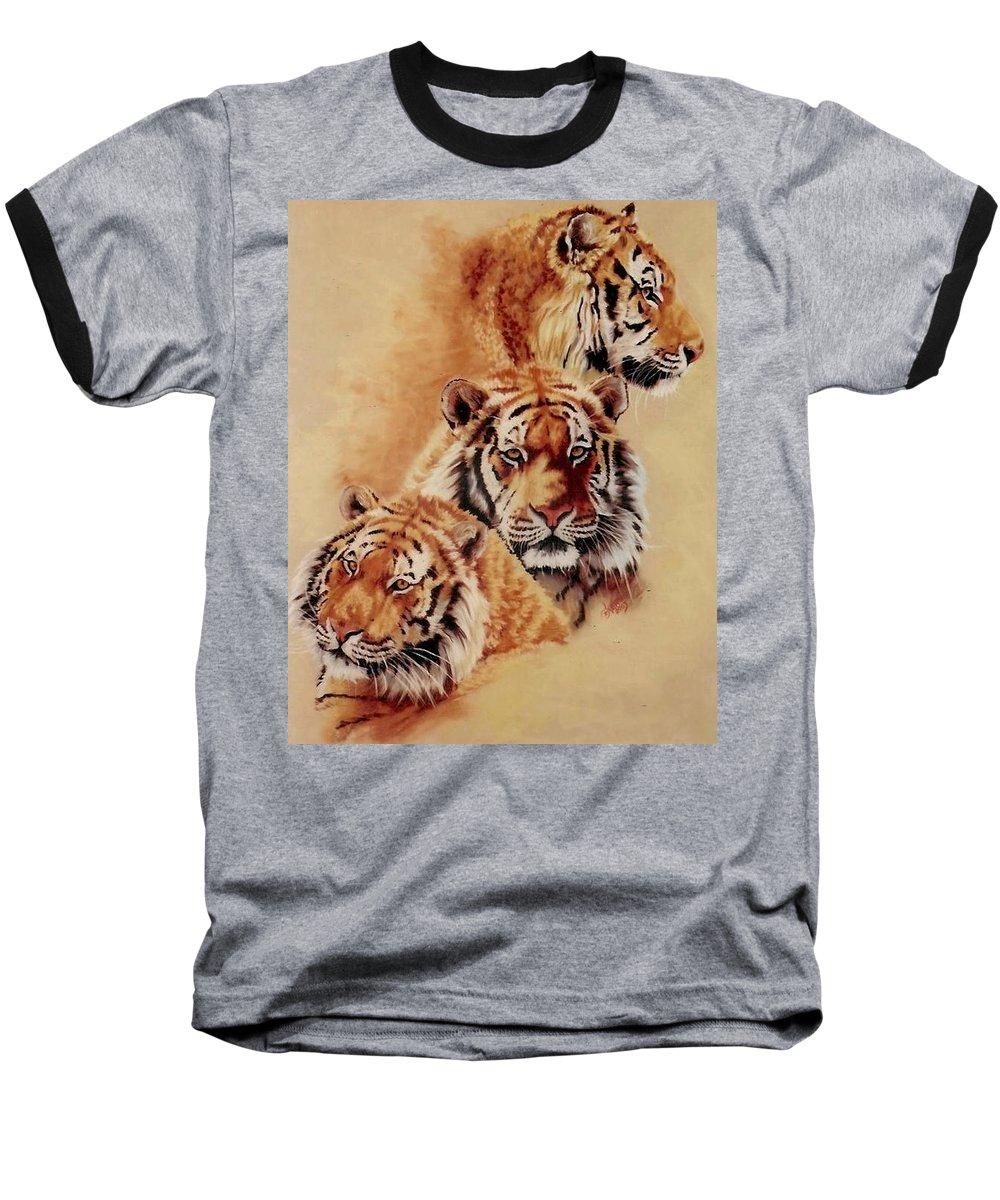 Tiger Baseball T-Shirt featuring the pastel Nanook by Barbara Keith