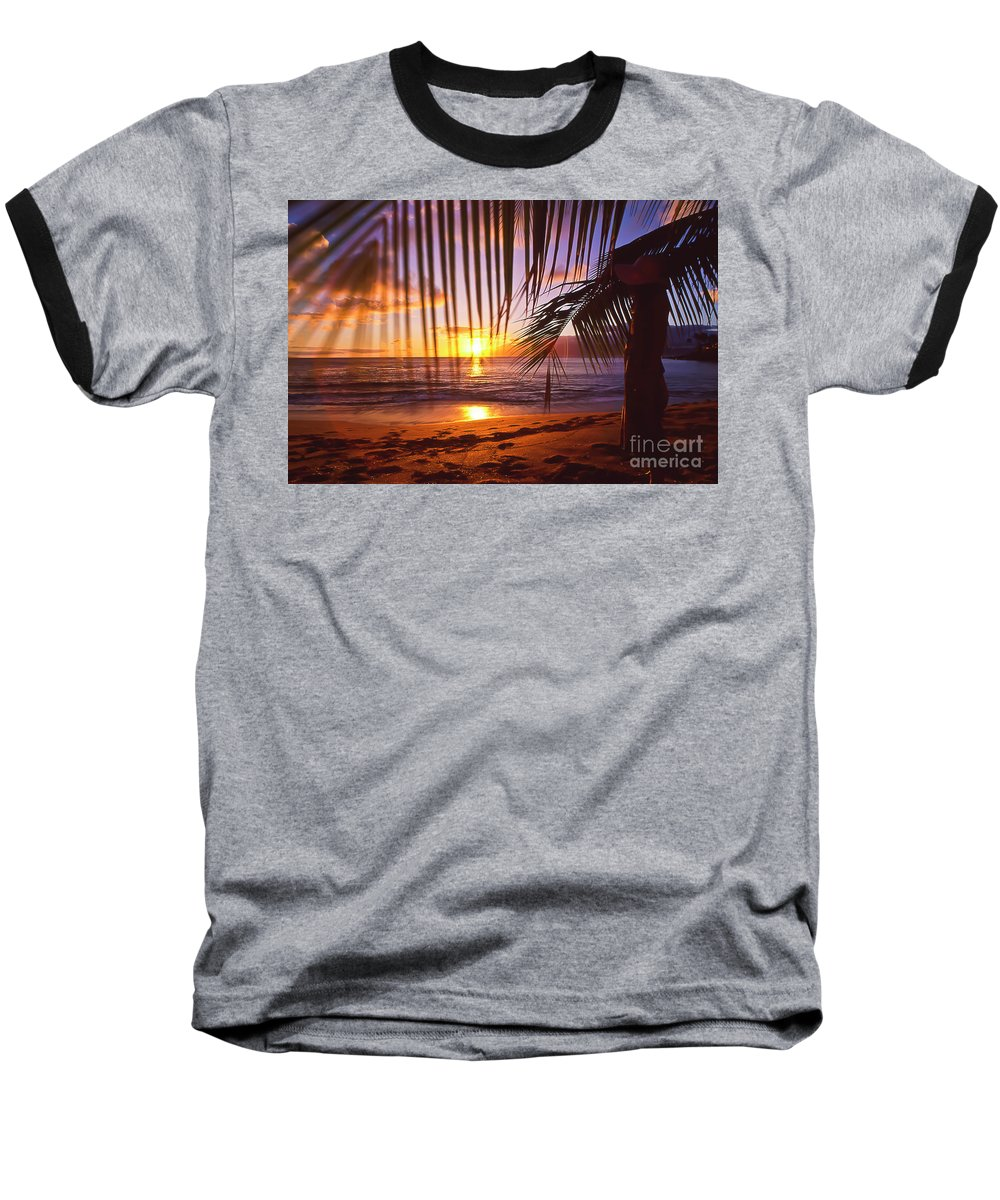 Sunset Baseball T-Shirt featuring the photograph Napili Bay Sunset Maui Hawaii by Jim Cazel