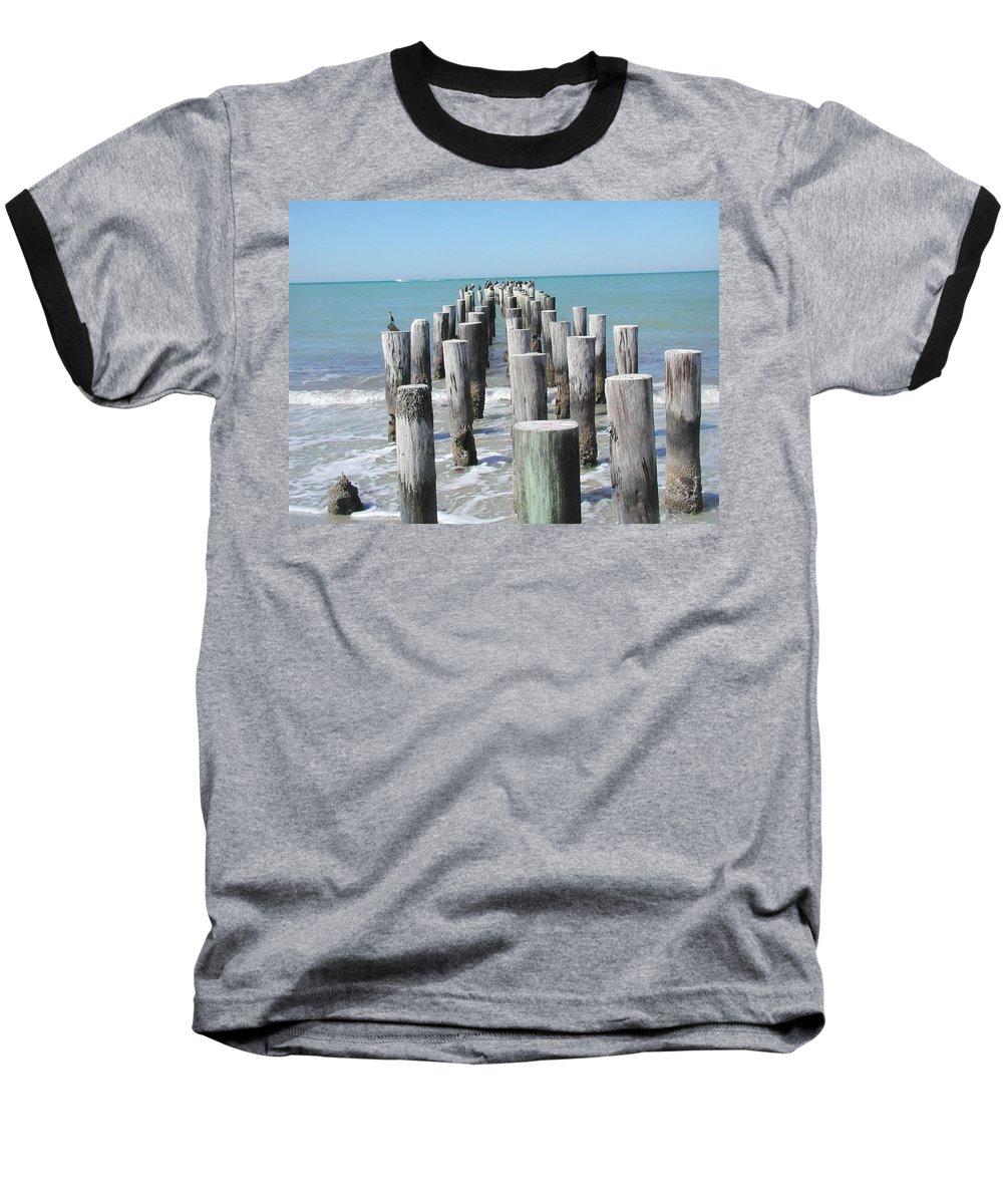 Ocean Baseball T-Shirt featuring the photograph Naples Pier by Tom Reynen